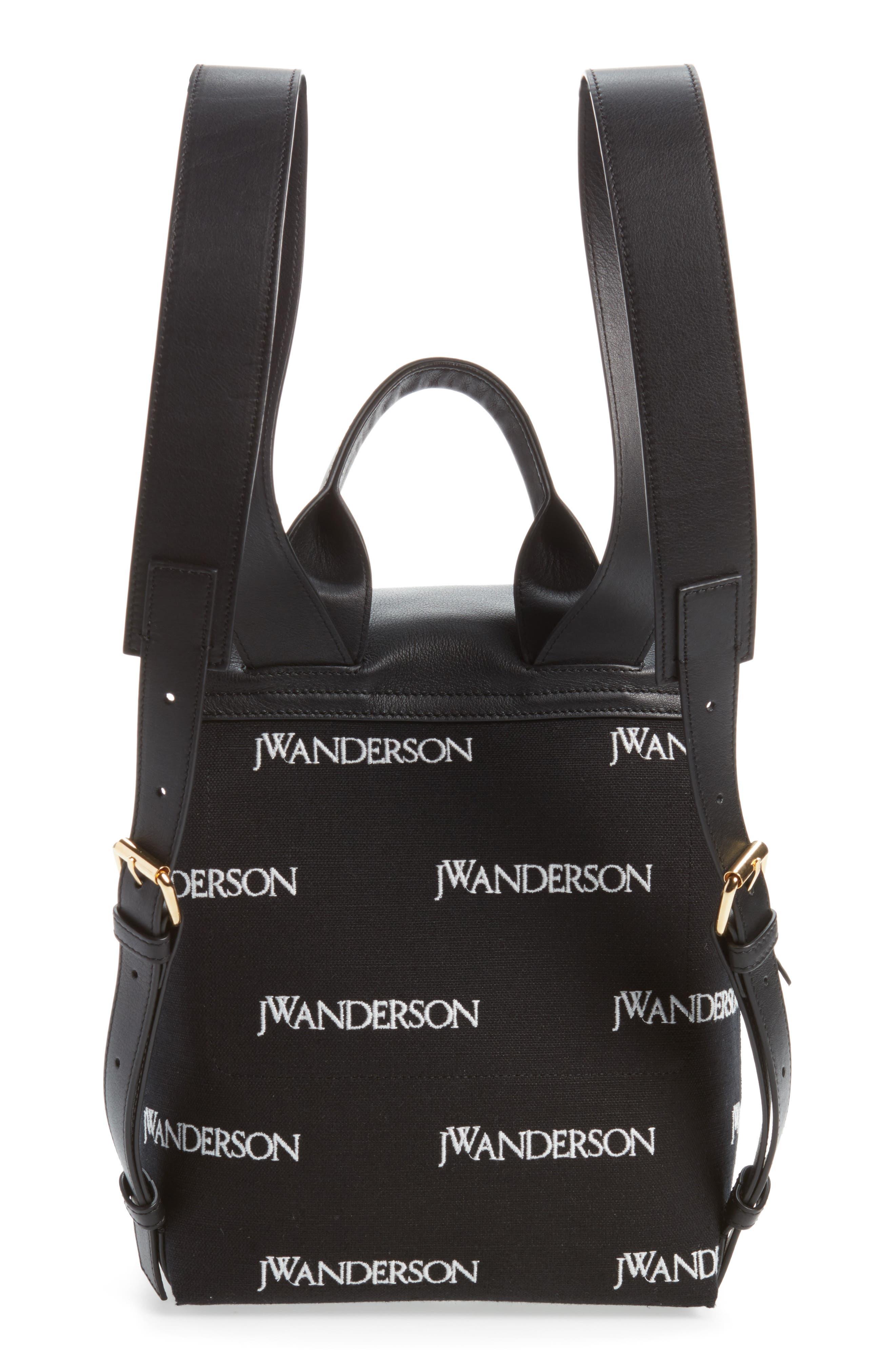 JW ANDERSON,                             Mini Pierce Logo Backpack,                             Alternate thumbnail 3, color,                             001