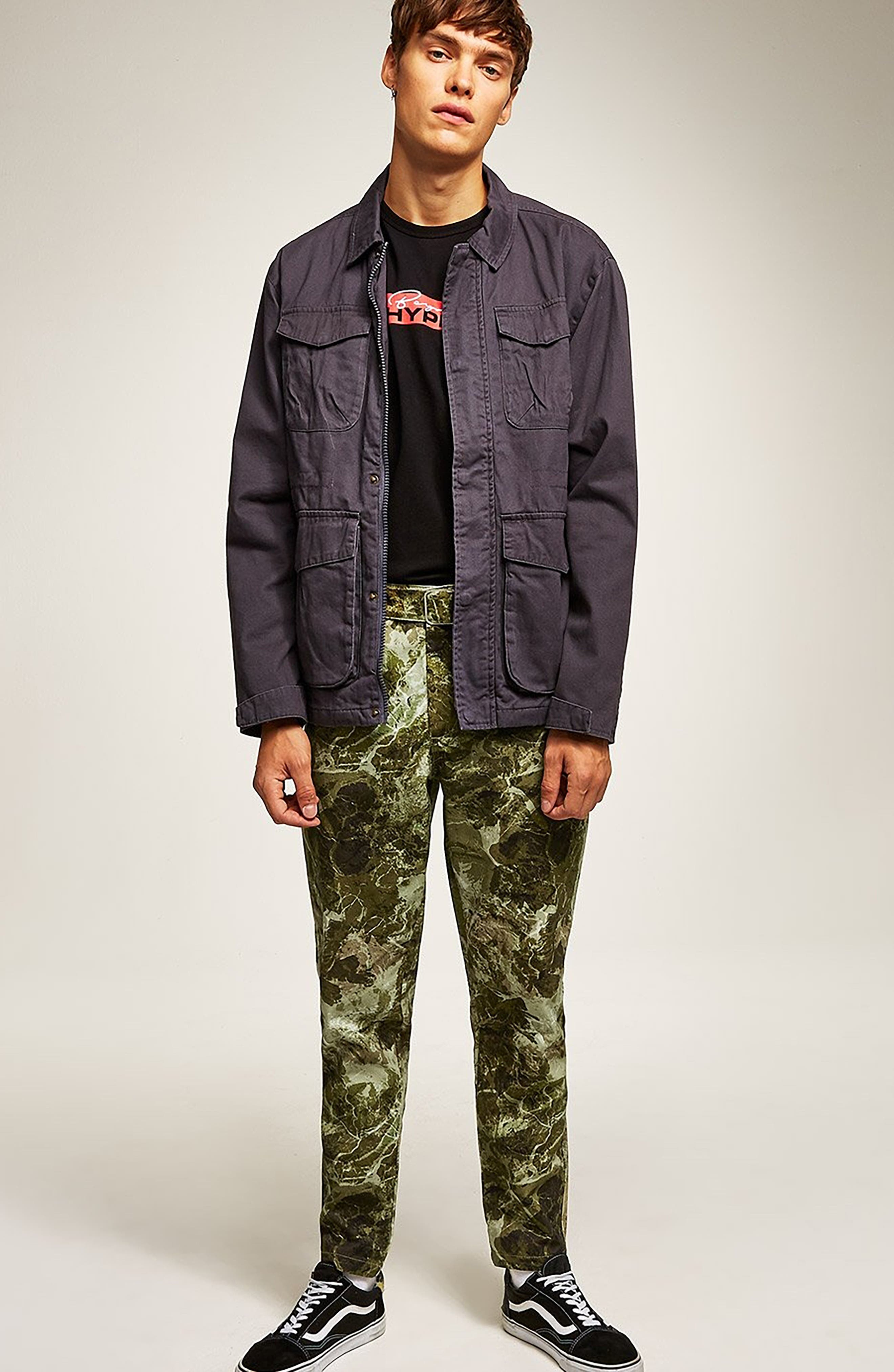 Sand Camouflage Tapered Trousers,                             Alternate thumbnail 5, color,                             GREEN MULTI