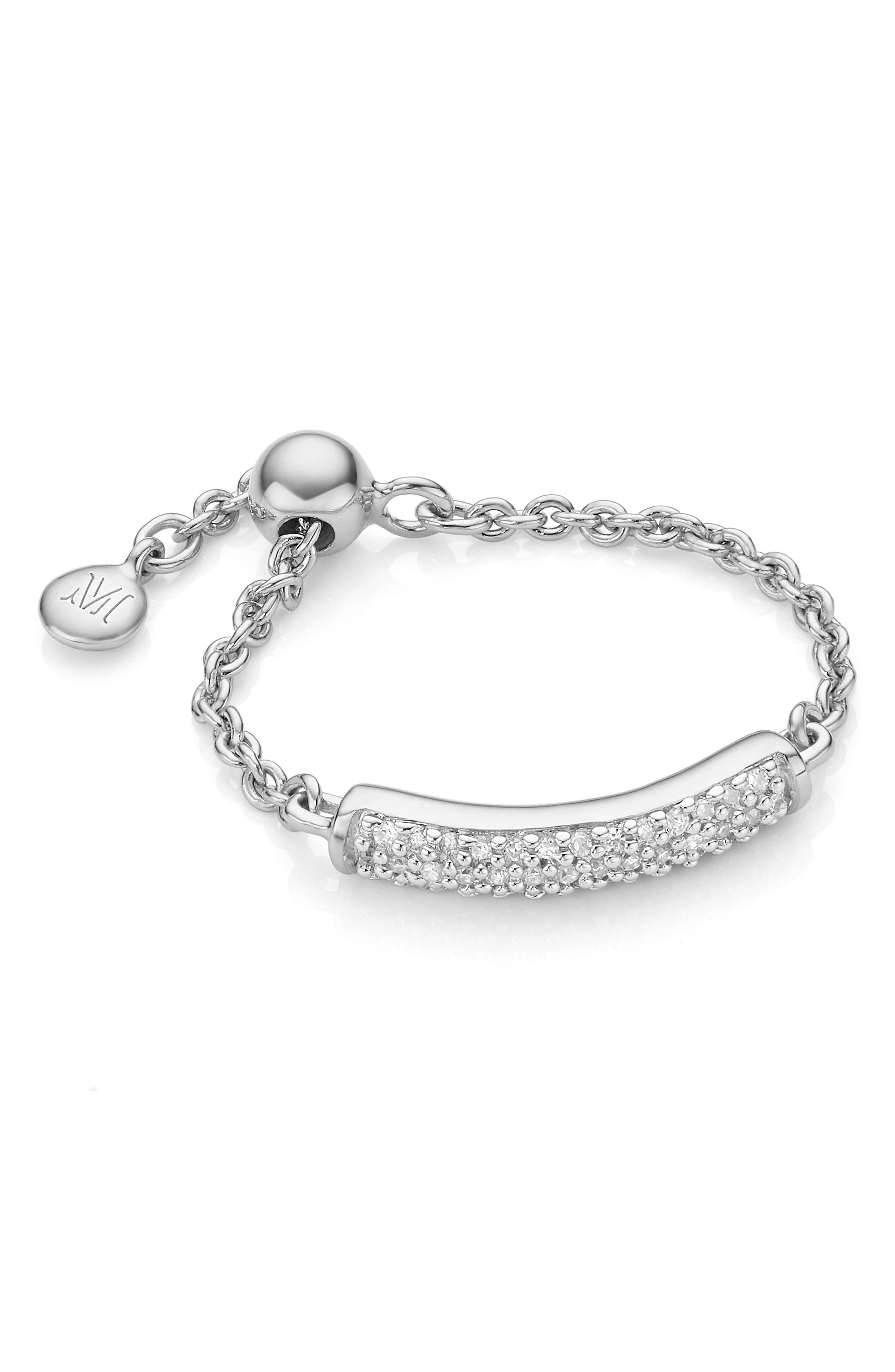Fiji Bar Friendship Diamond Chain Ring,                             Main thumbnail 1, color,                             SILVER