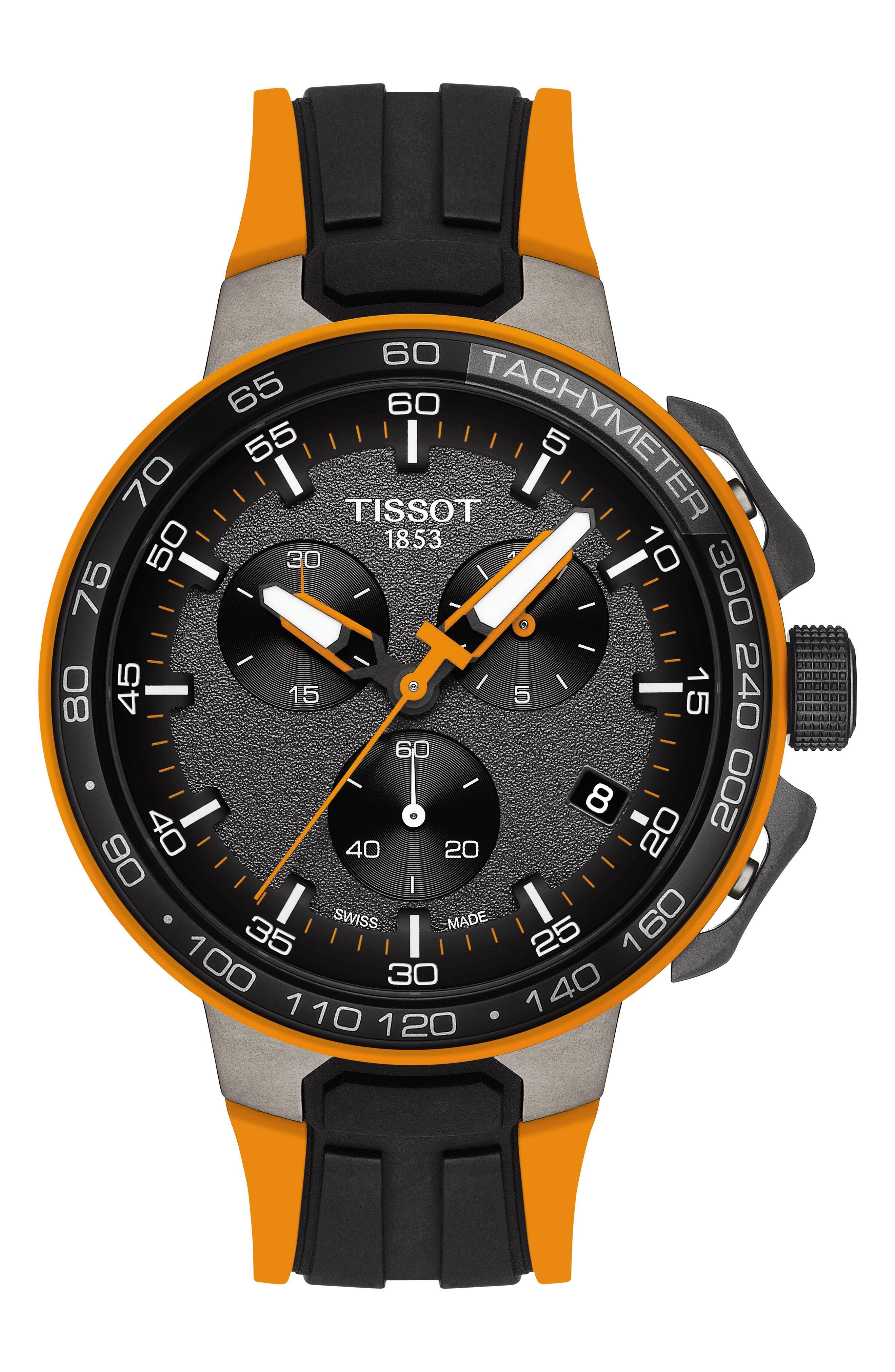 T-Race Cycling Chronograph Watch, 44mm,                         Main,                         color, BLACK/ GUNMETAL/ ORANGE