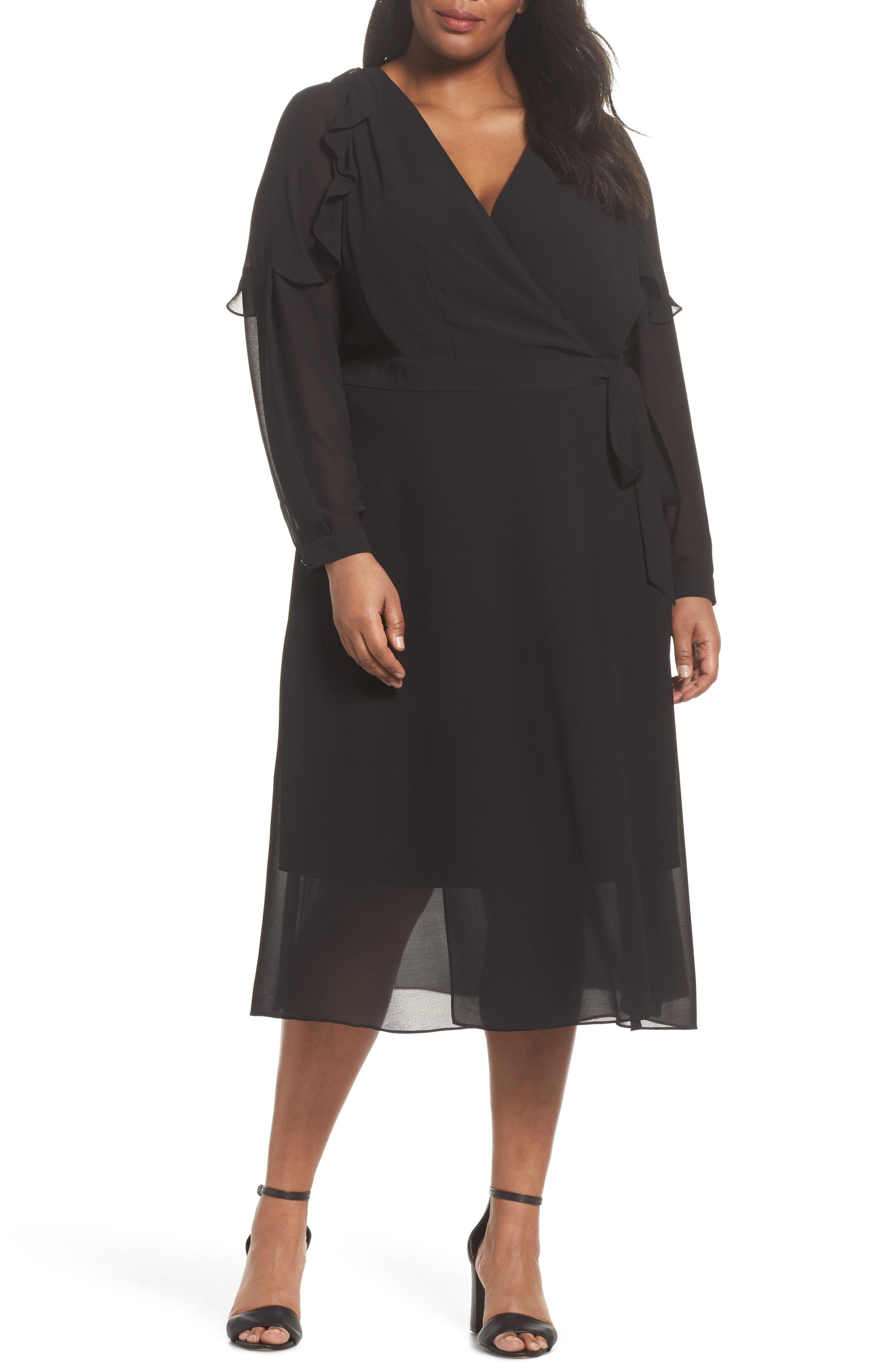 Smocked Wrap Dress,                             Main thumbnail 1, color,                             001