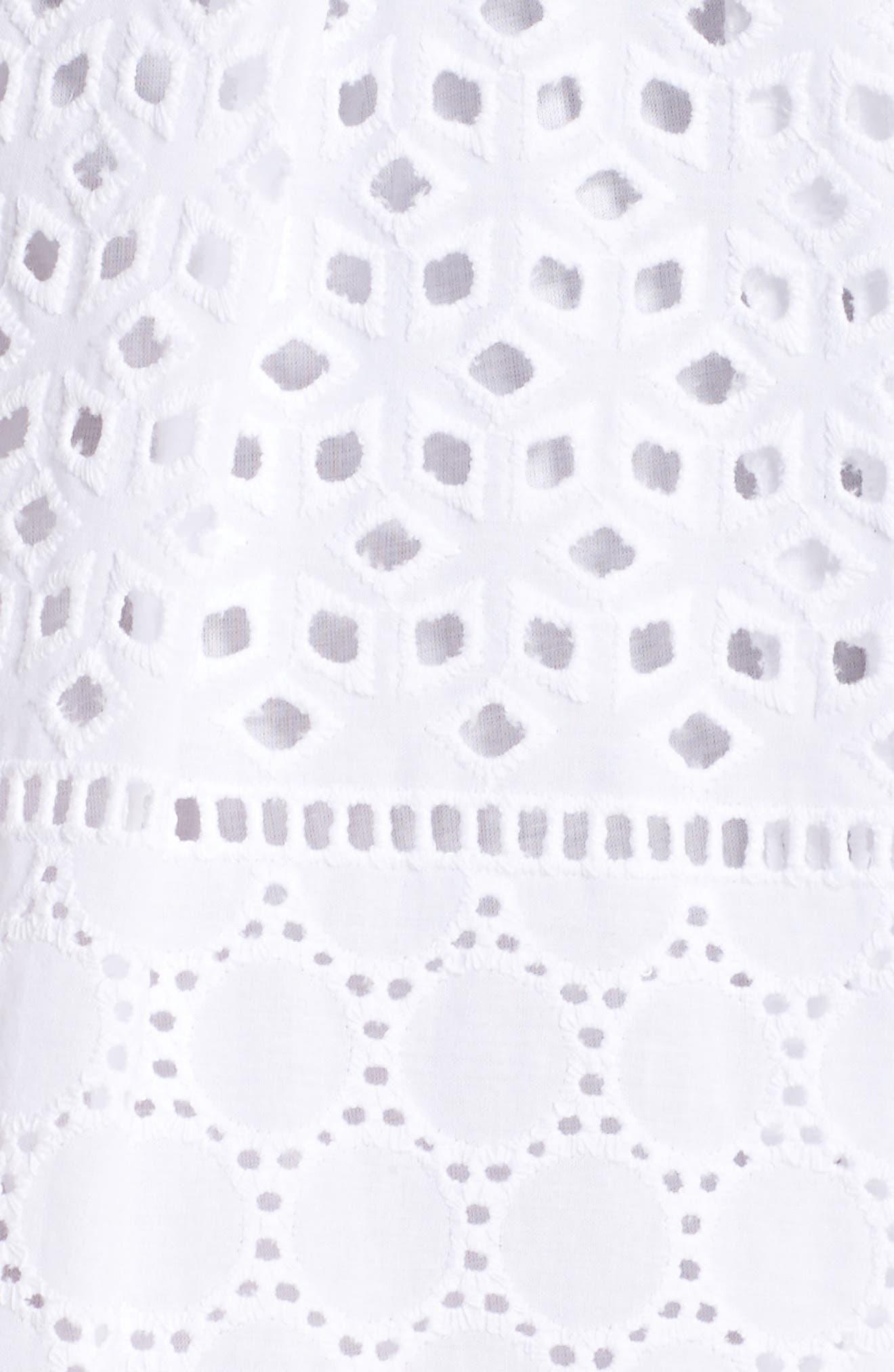 V-Neck Cotton Eyelet Fit & Flare Dress,                             Alternate thumbnail 11, color,
