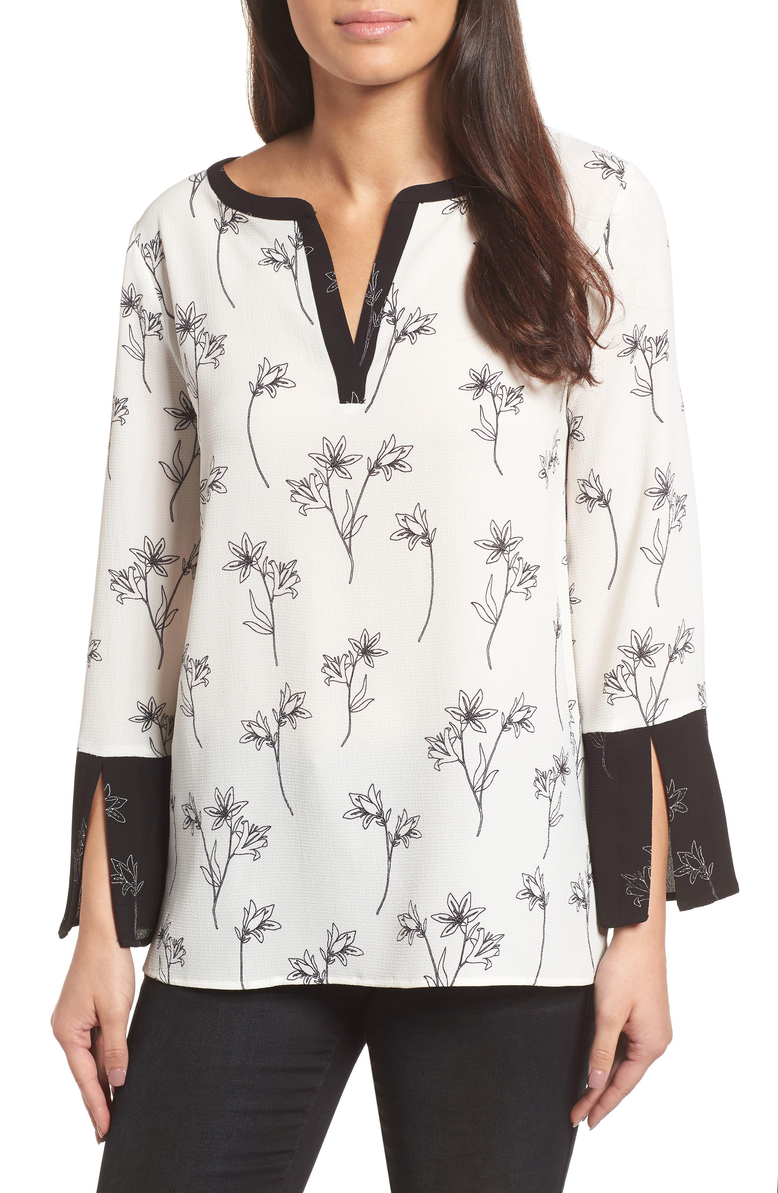 Floral Split Bell Sleeve Blouse,                             Main thumbnail 1, color,                             060-RICH BLACK