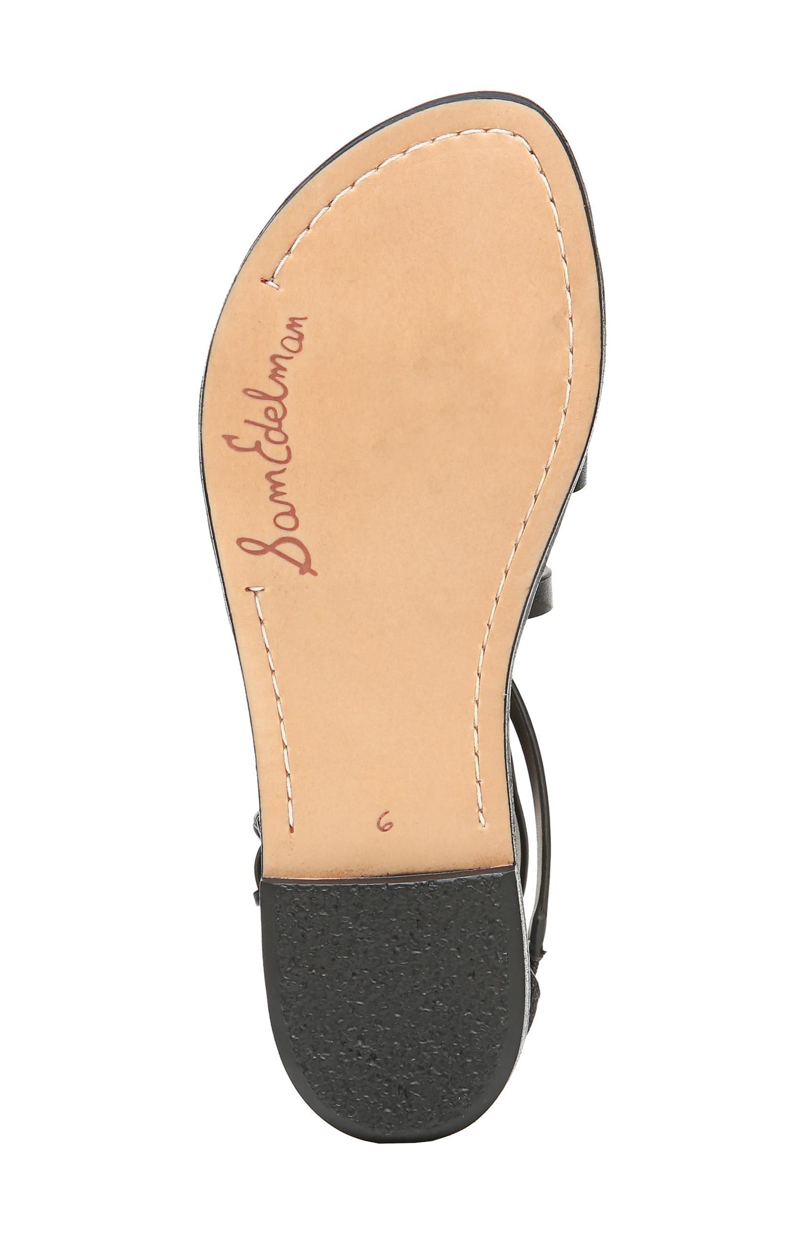 Ganesa Strappy Sandal,                             Alternate thumbnail 6, color,                             BLACK LEATHER