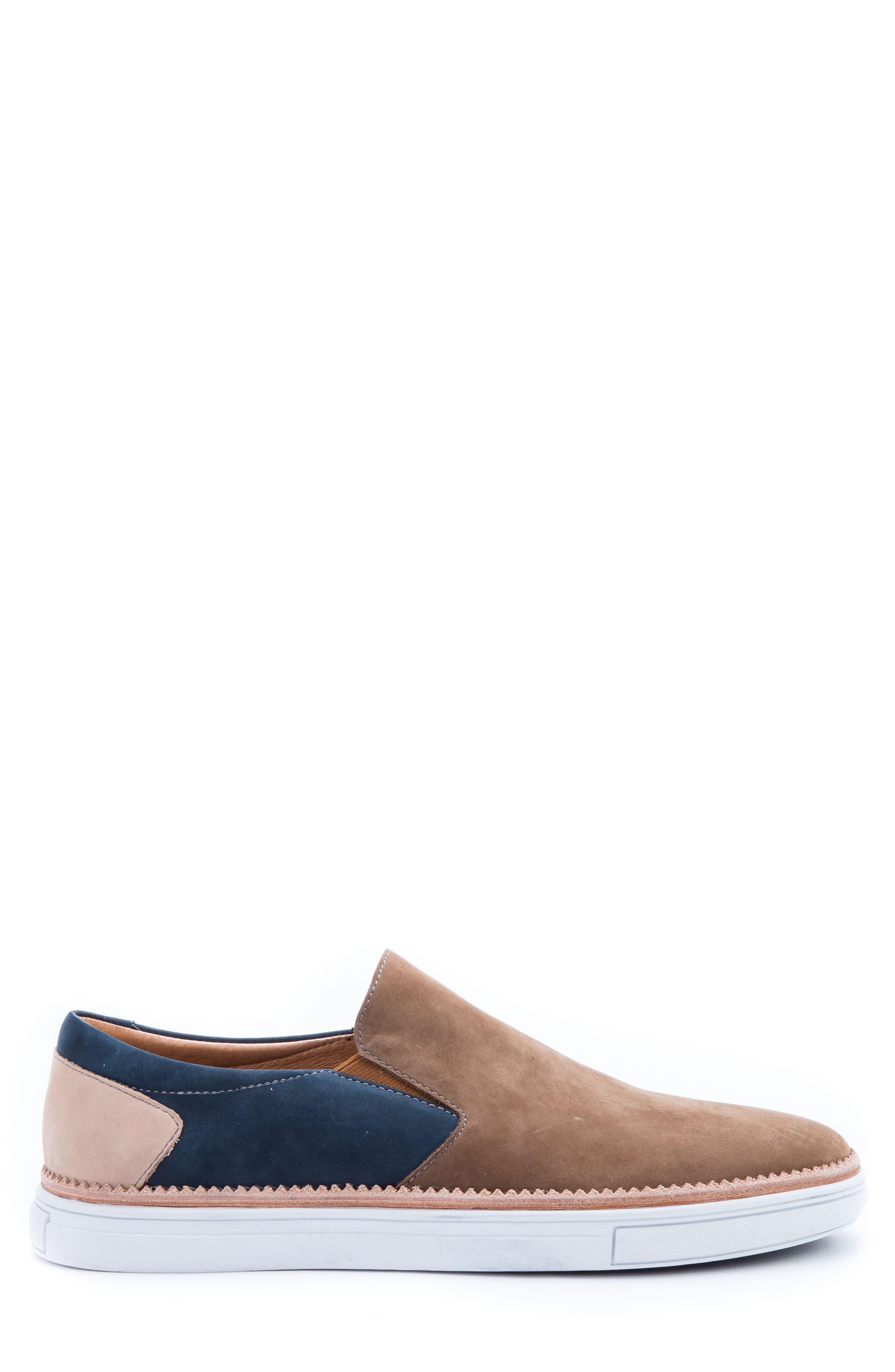 Rivera Colorblocked Slip-On Sneaker,                             Alternate thumbnail 3, color,                             COGNAC SUEDE