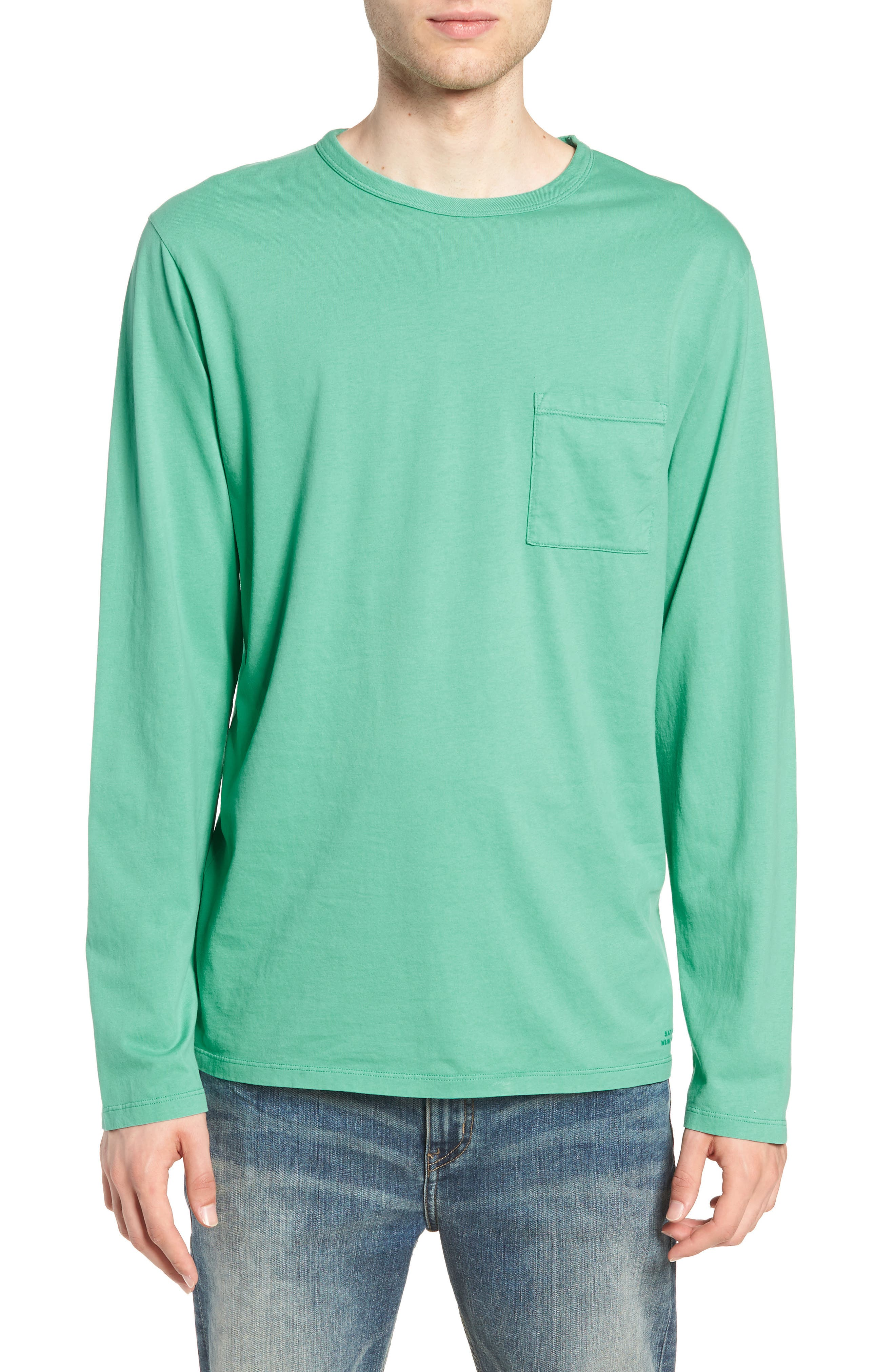 James Pima Long Sleeve Pocket T-Shirt,                         Main,                         color, SEAFOAM GREEN