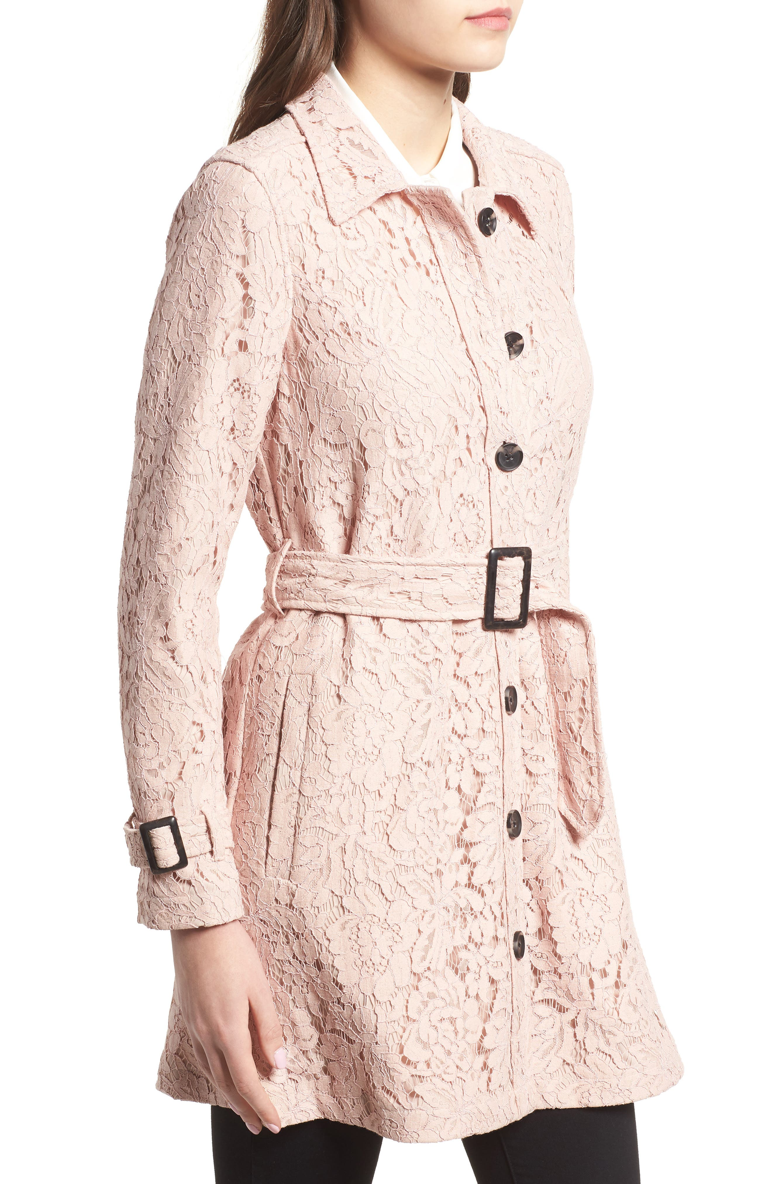 Auretta Lace Trench Coat,                             Alternate thumbnail 3, color,                             680