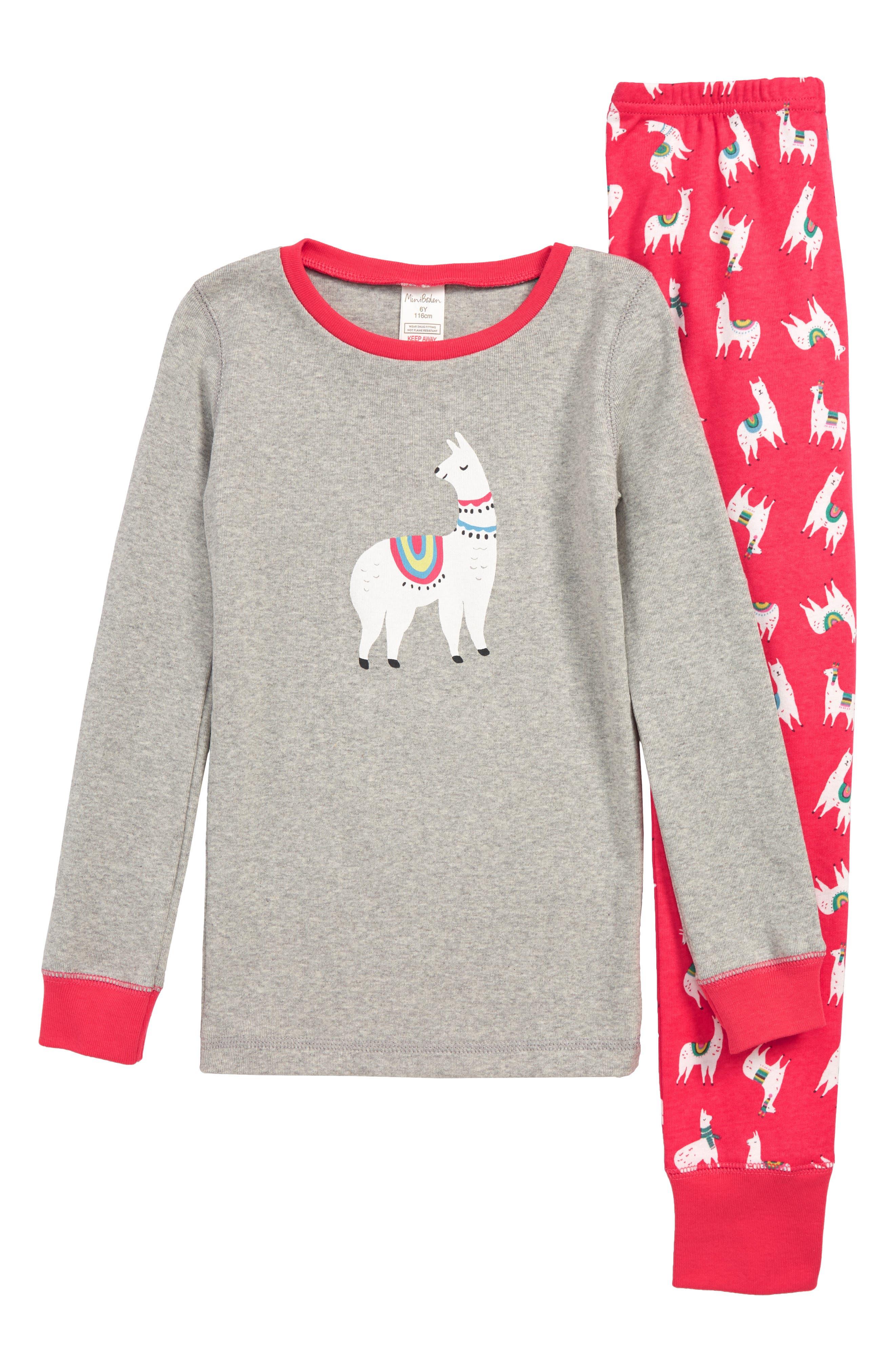 Fitted Cosy Long John Pajamas,                             Main thumbnail 1, color,                             BPK PINK BERRY LLAMAS
