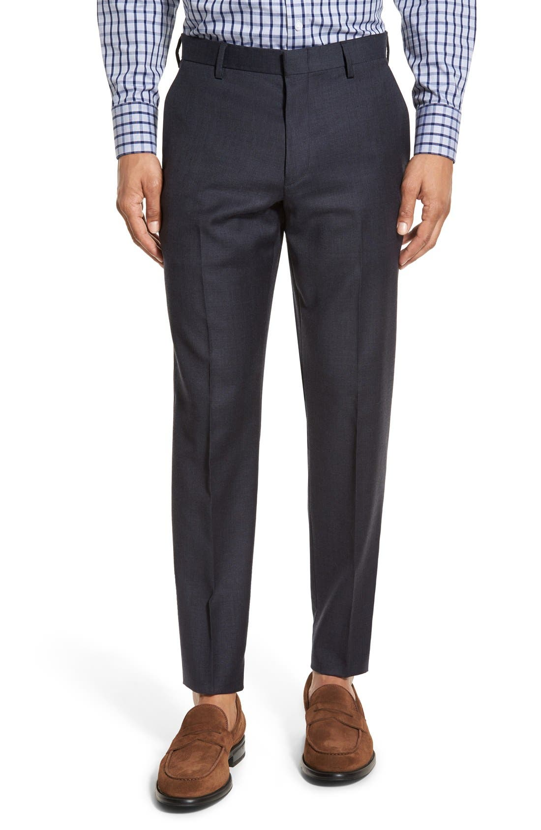 Ludlow Flat Front Solid Wool Trousers,                             Main thumbnail 2, color,