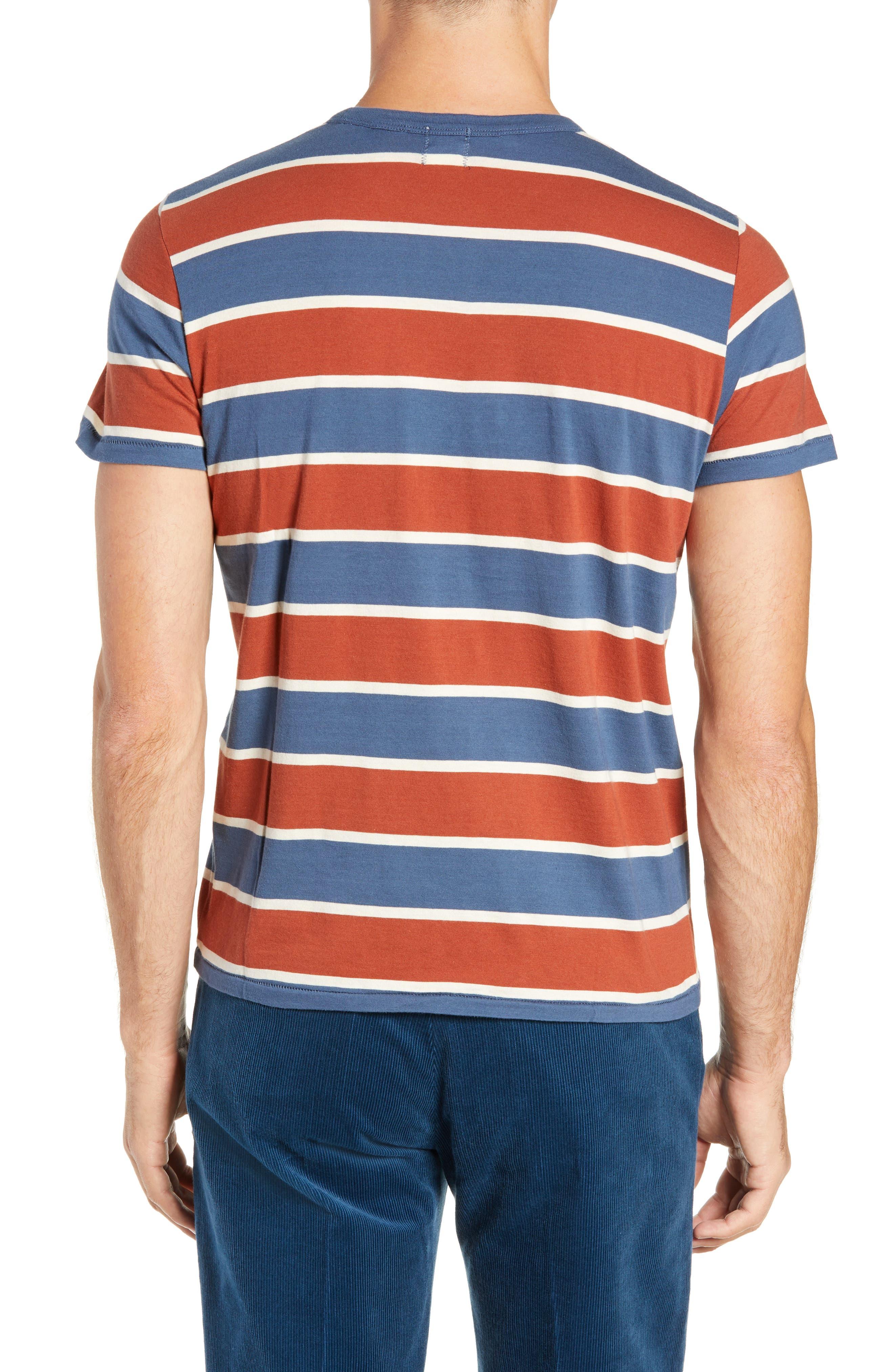 1960s Slim Fit Stripe T-Shirt,                             Alternate thumbnail 2, color,                             DARK DENIM MULTI STRIPE
