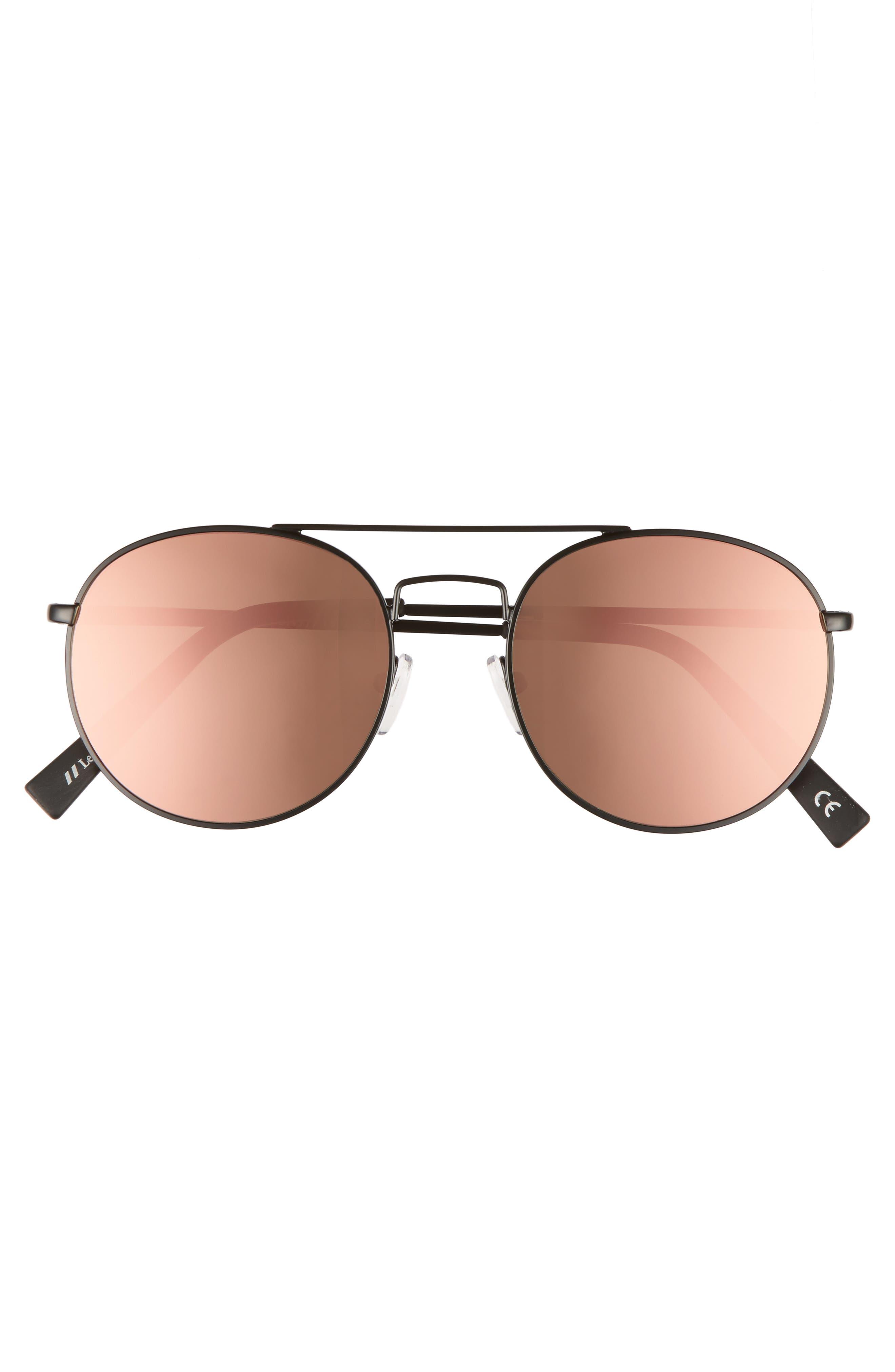 Revolution 53mm Aviator Sunglasses,                             Alternate thumbnail 3, color,                             MATTE BLACK