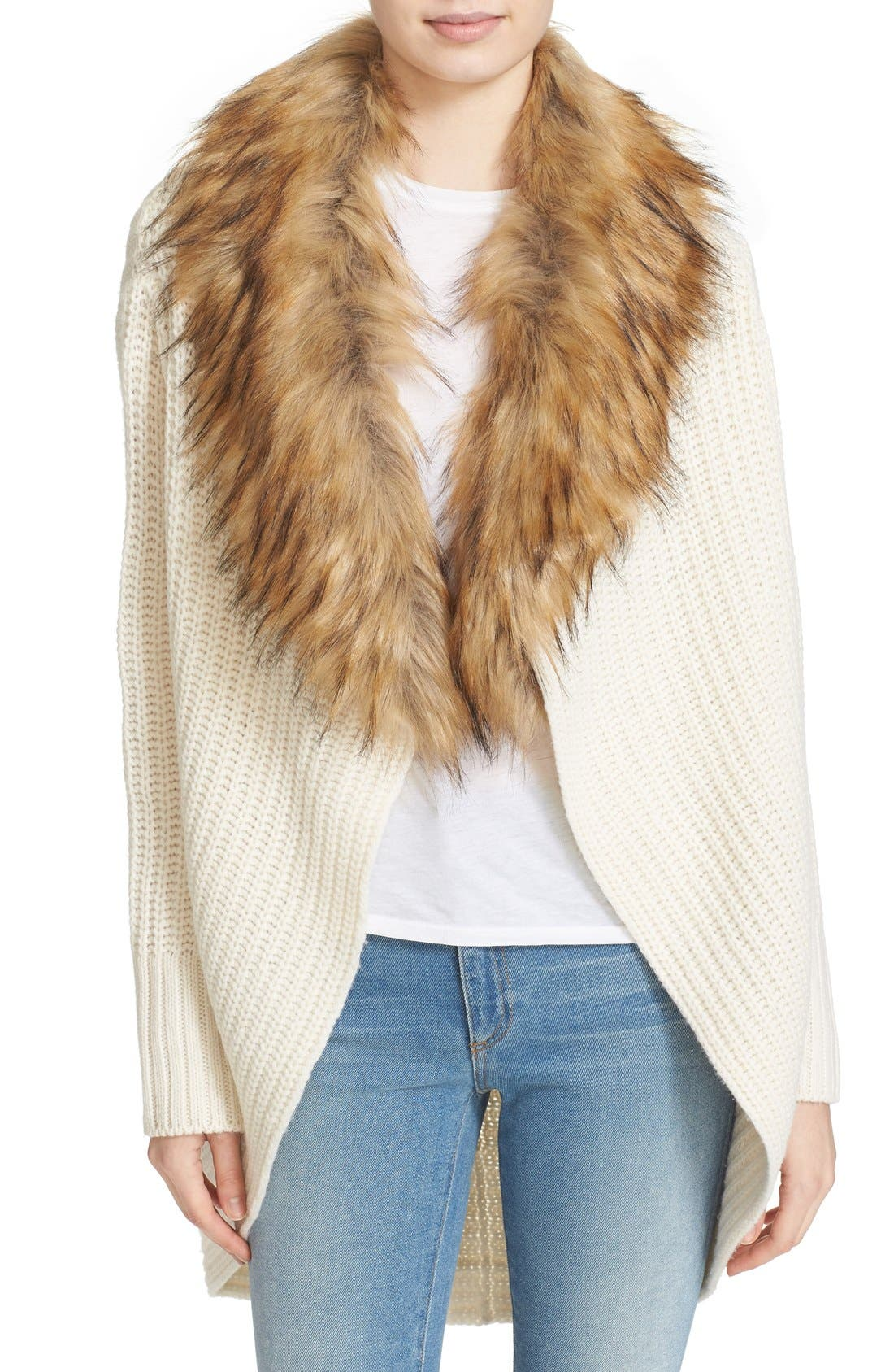 'Helma' Wool & Yak Cardigan with Faux Fur Collar, Main, color, 120