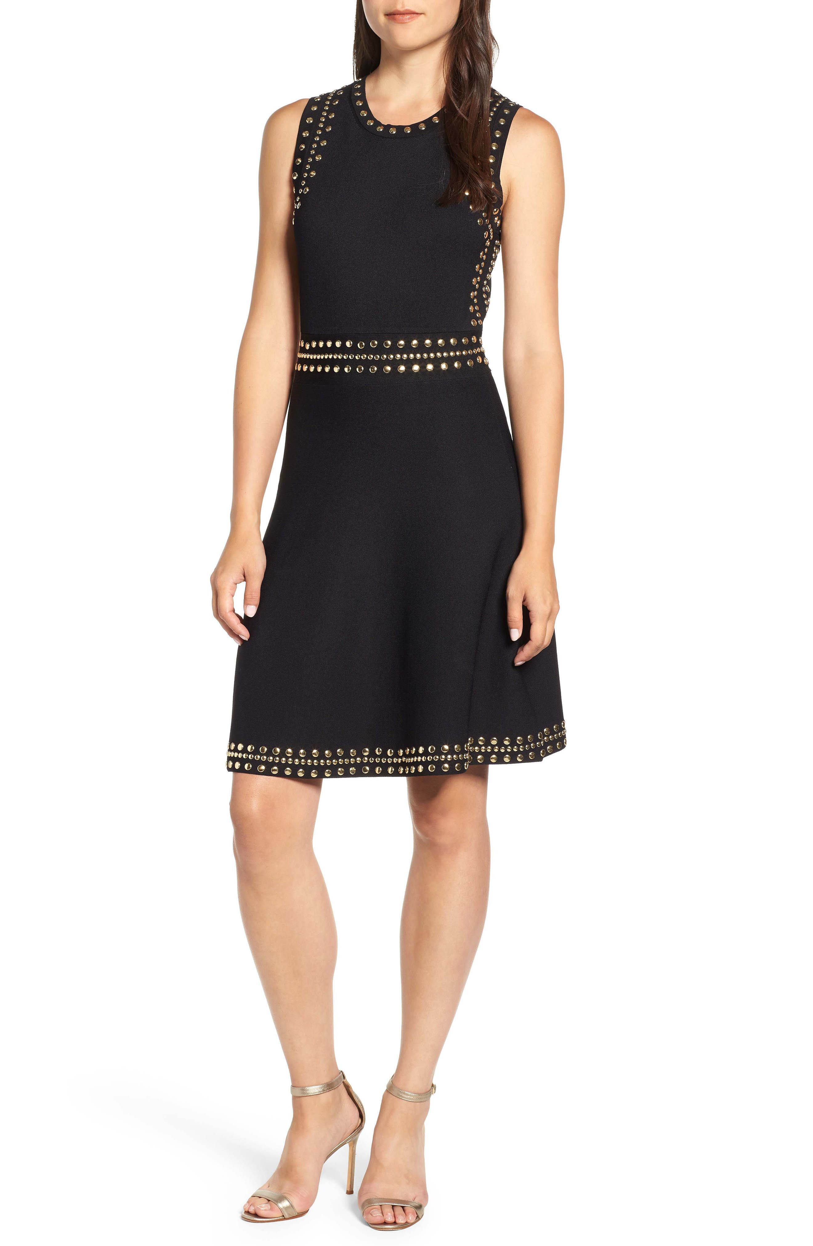 Studded Fit & Flare Dress,                             Main thumbnail 1, color,                             008