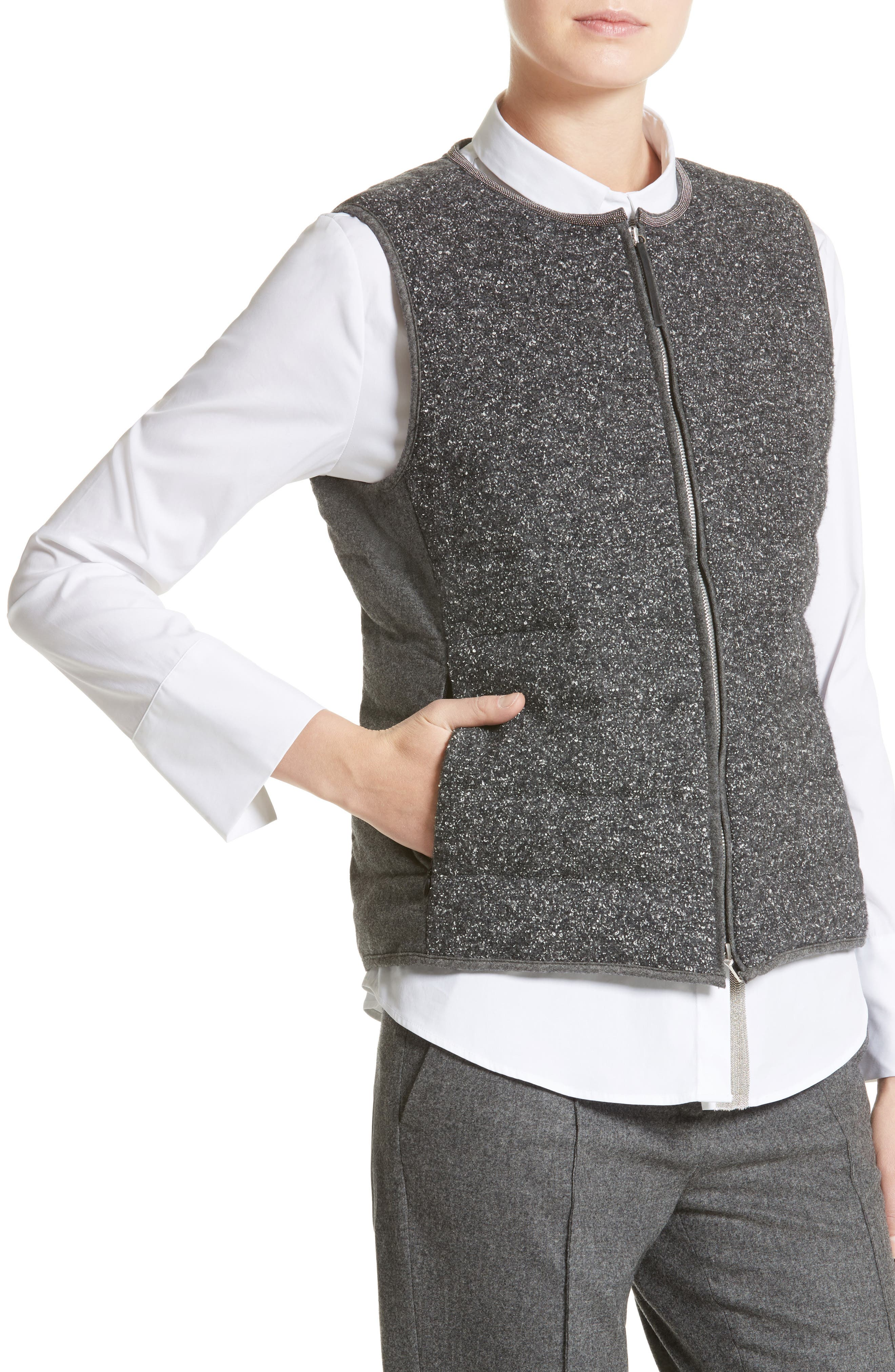 Pebbled Knit Front Quilted Down Vest,                             Alternate thumbnail 4, color,                             021