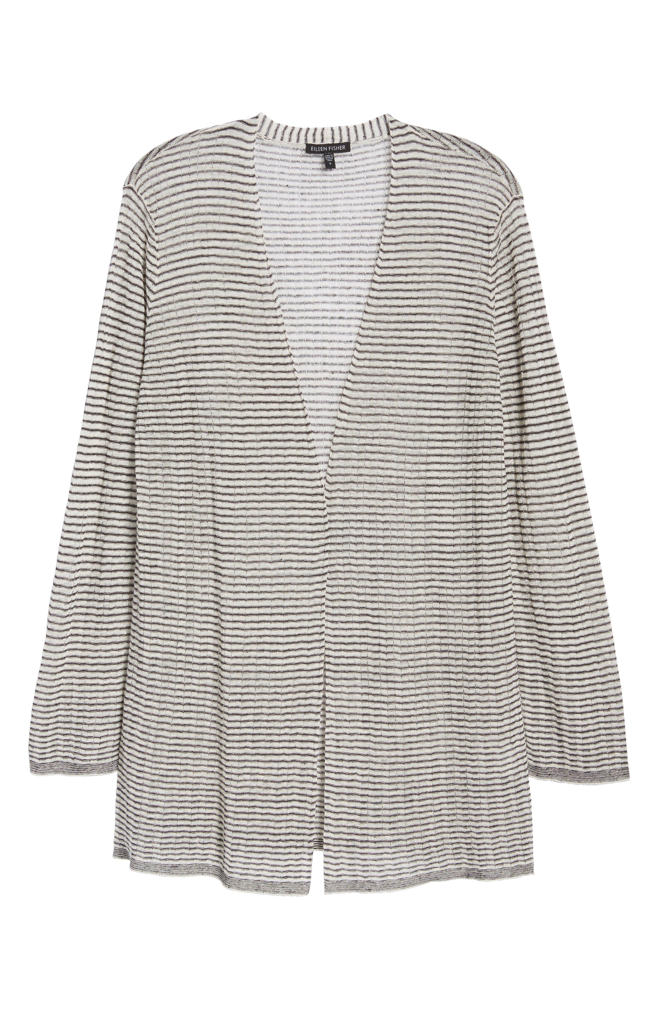 Stripe Organic Linen Blend Cardigan,                             Alternate thumbnail 7, color,