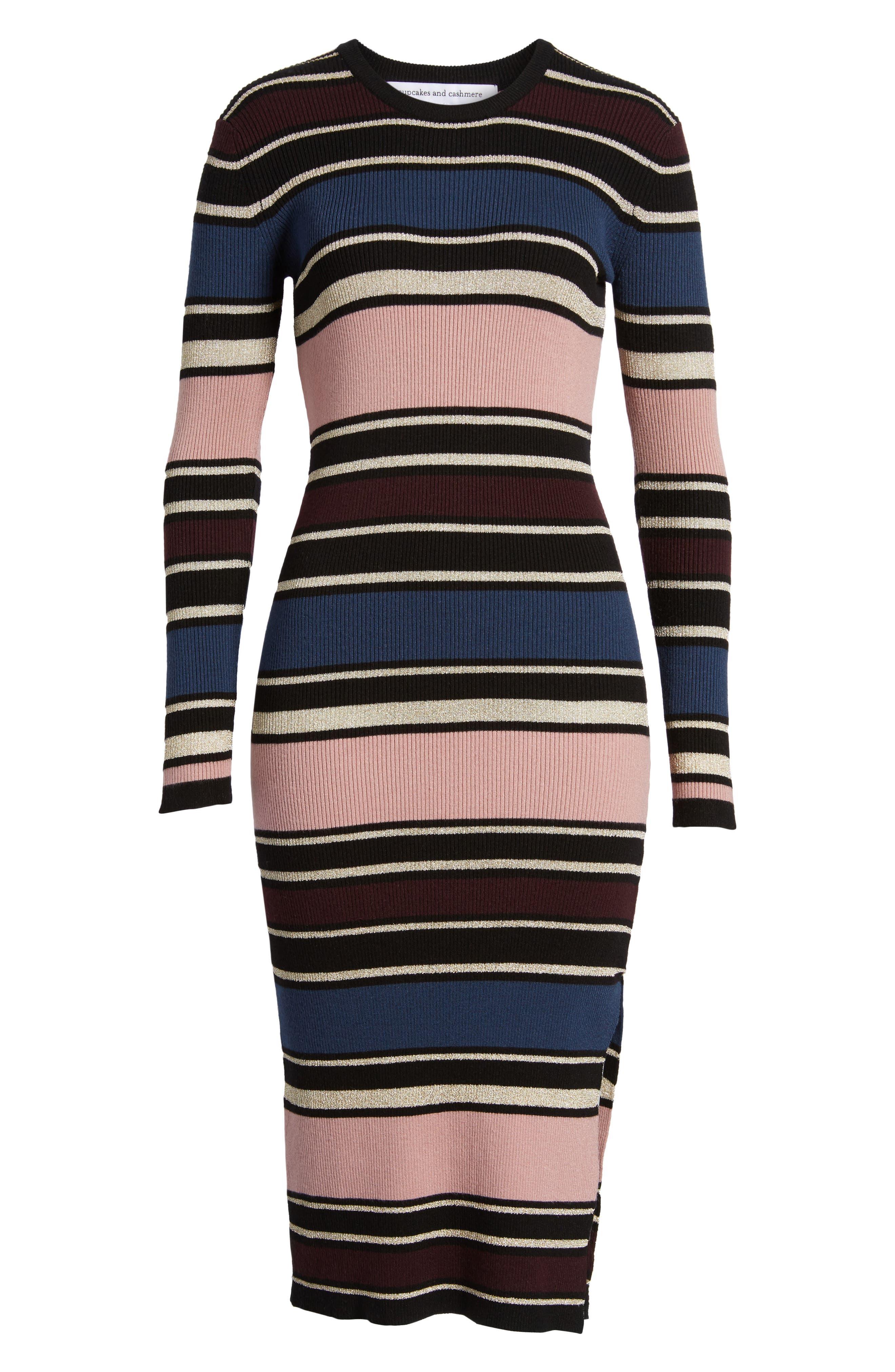 Barrow Stripe Midi Dress,                             Alternate thumbnail 6, color,                             960