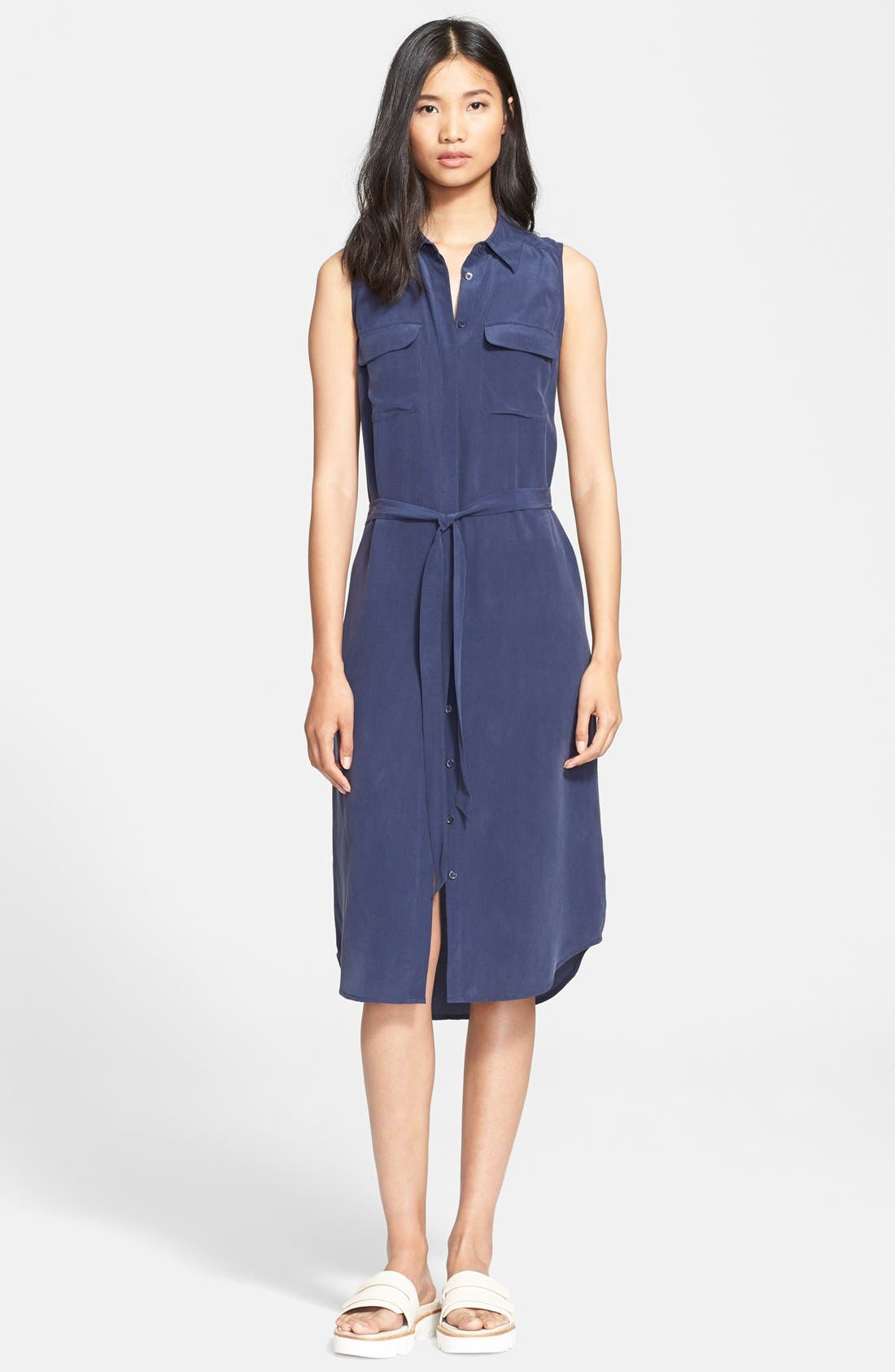 'Tegan' Midi Silk Shirtdress,                         Main,                         color, 404