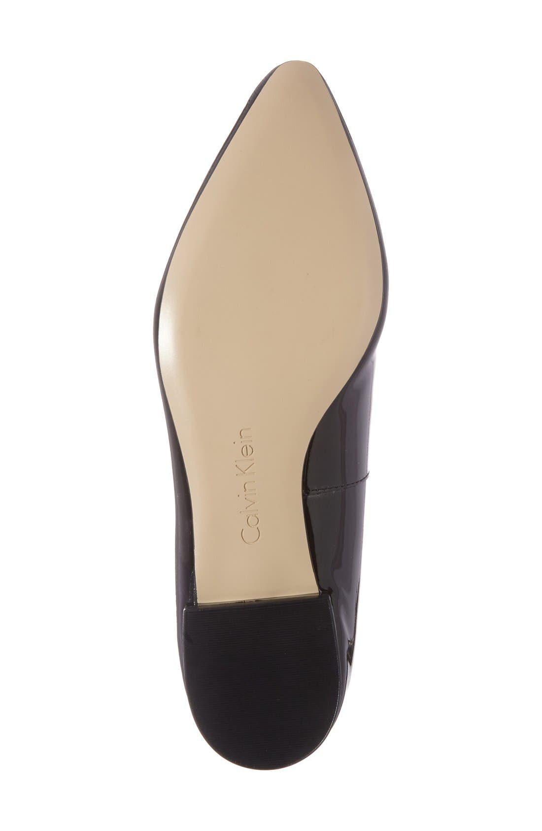 'Elin' Pointy Toe Loafer,                             Alternate thumbnail 2, color,                             BLACK PATENT