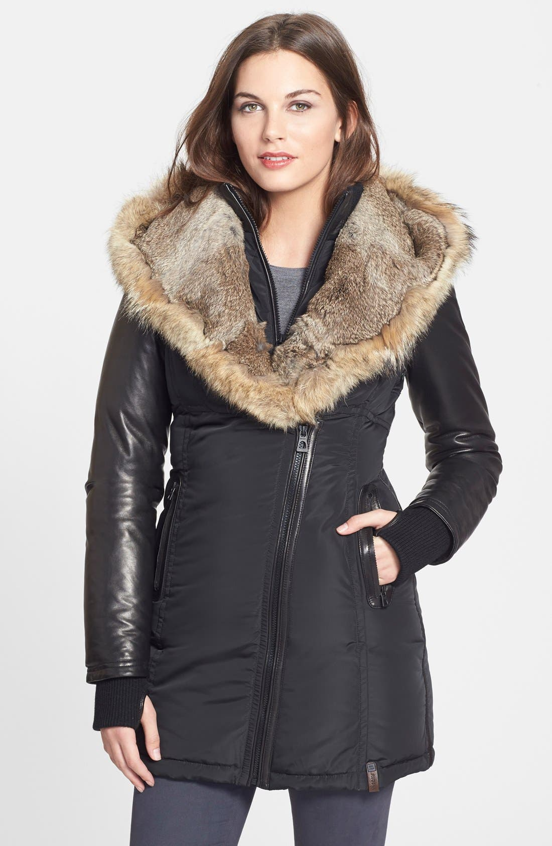 RUDSAK,                             'Grace' Down Coat with Genuine Rabbit & Coyote Fur Trim,                             Main thumbnail 1, color,                             001