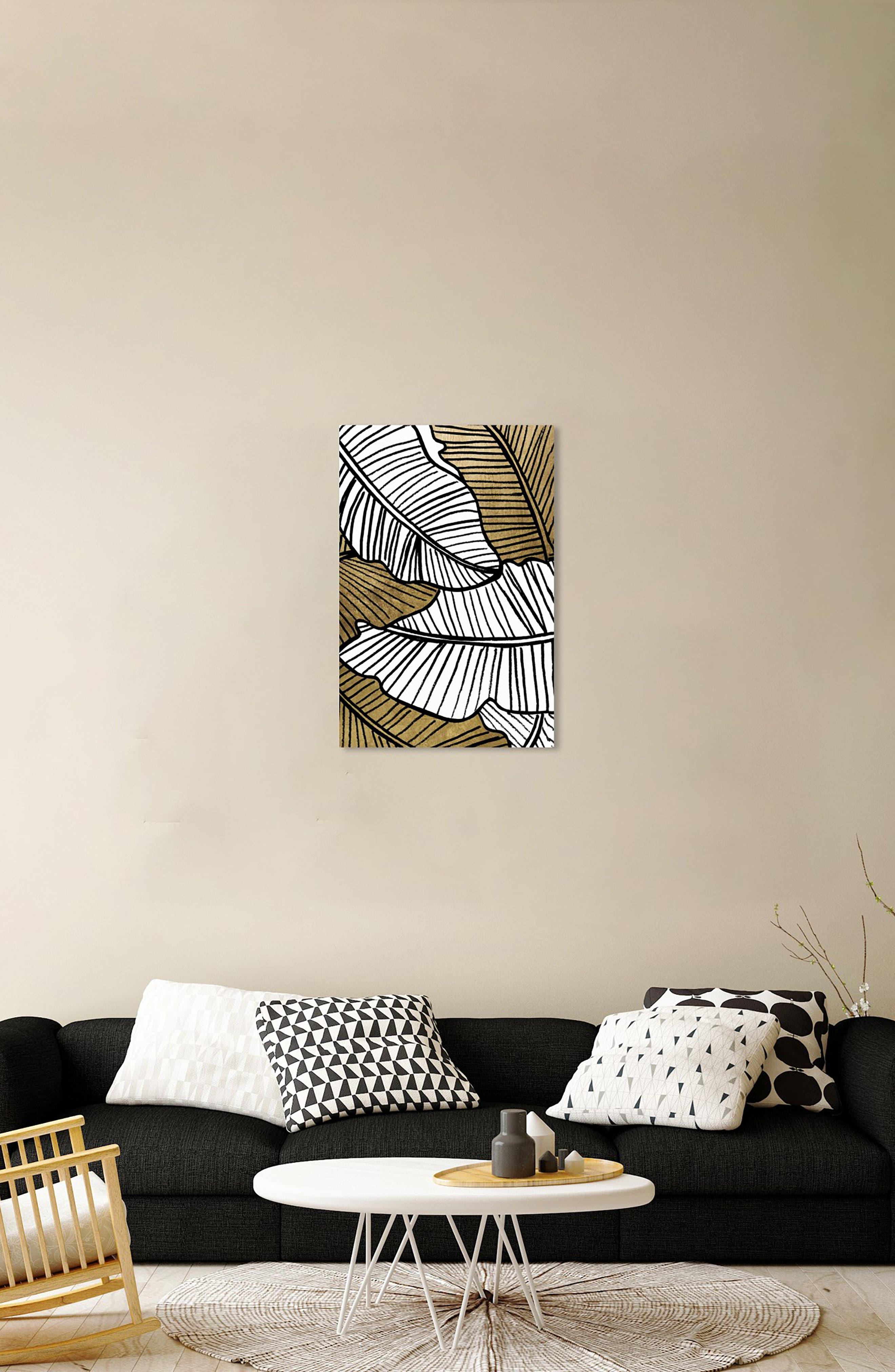 Golden Leaf Canvas Wall Art,                             Alternate thumbnail 6, color,                             BLACK WHITE GOLD