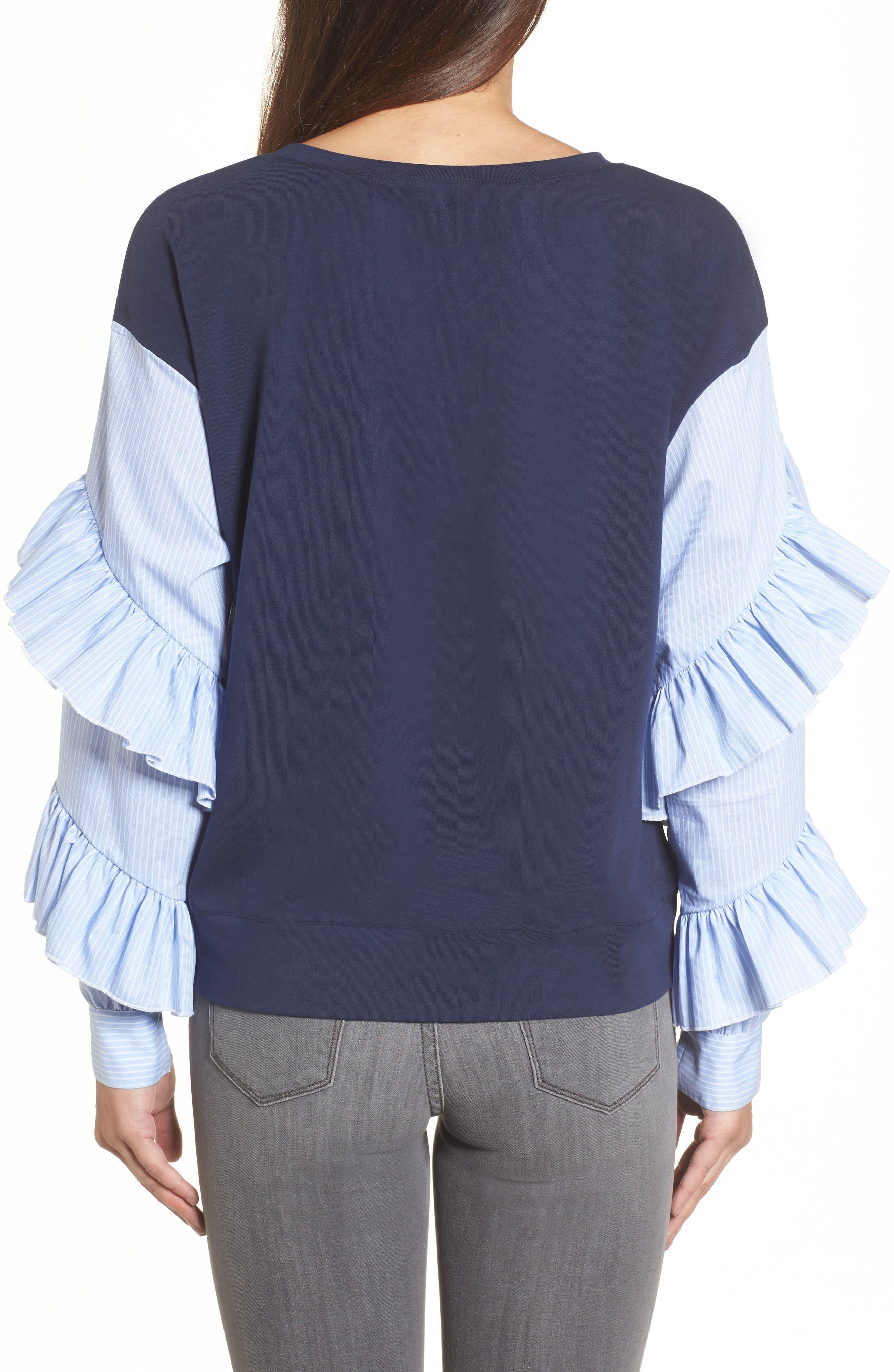 Poplin Ruffle Sleeve Sweatshirt,                             Alternate thumbnail 6, color,