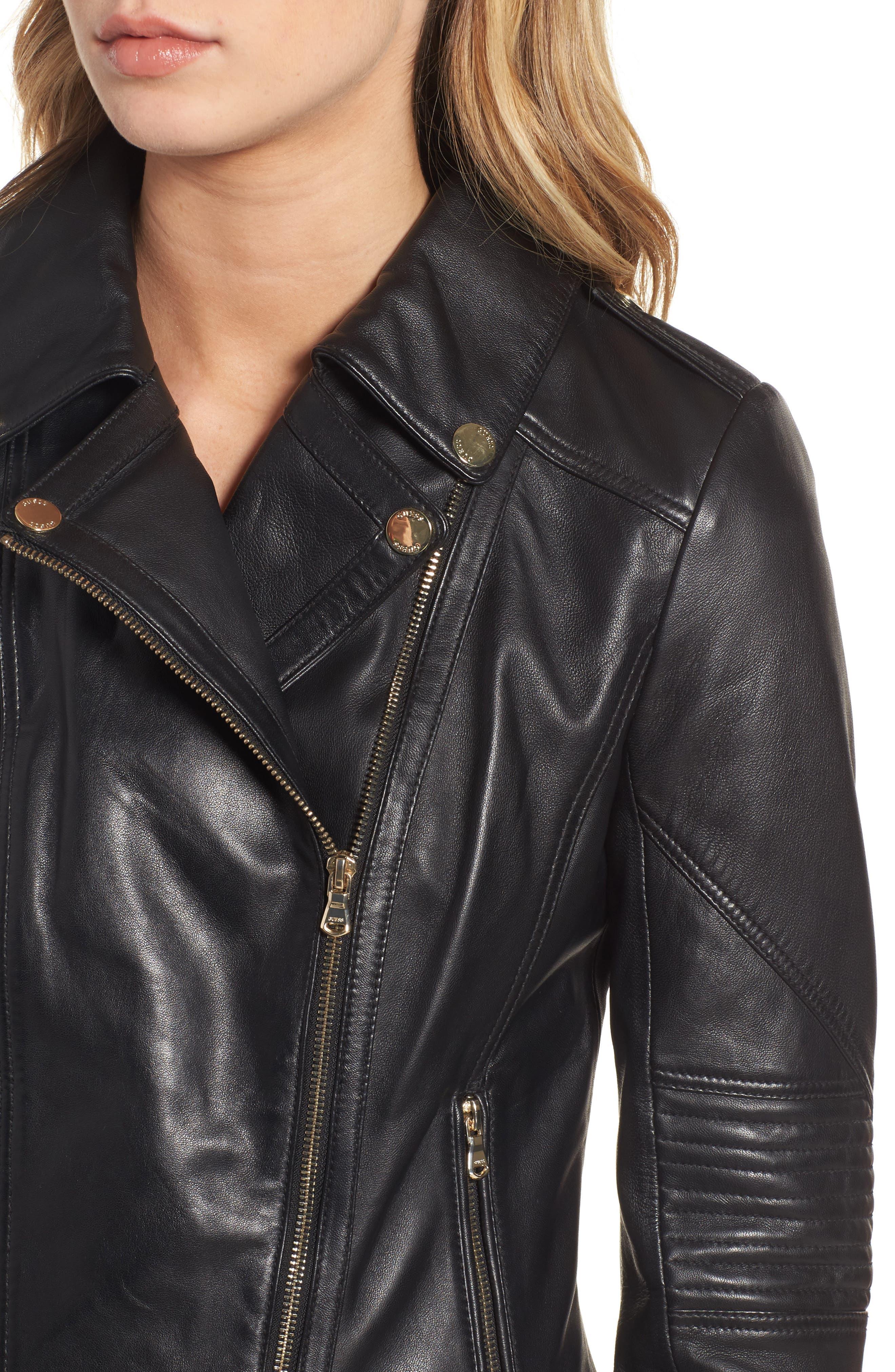 Leather Moto Jacket,                             Alternate thumbnail 7, color,