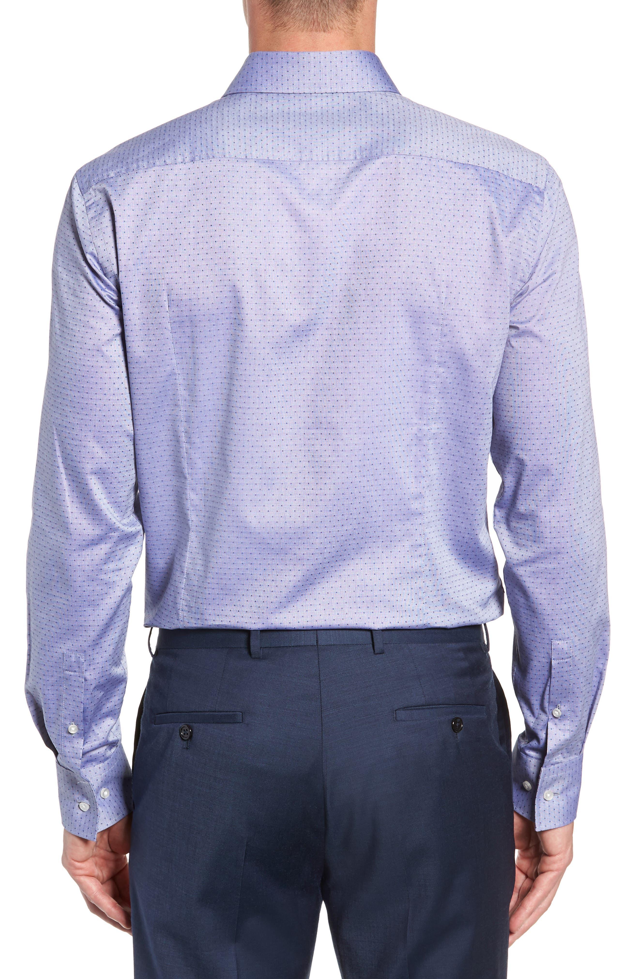 Jason Slim Fit Dot Dress Shirt,                             Alternate thumbnail 3, color,                             NAVY