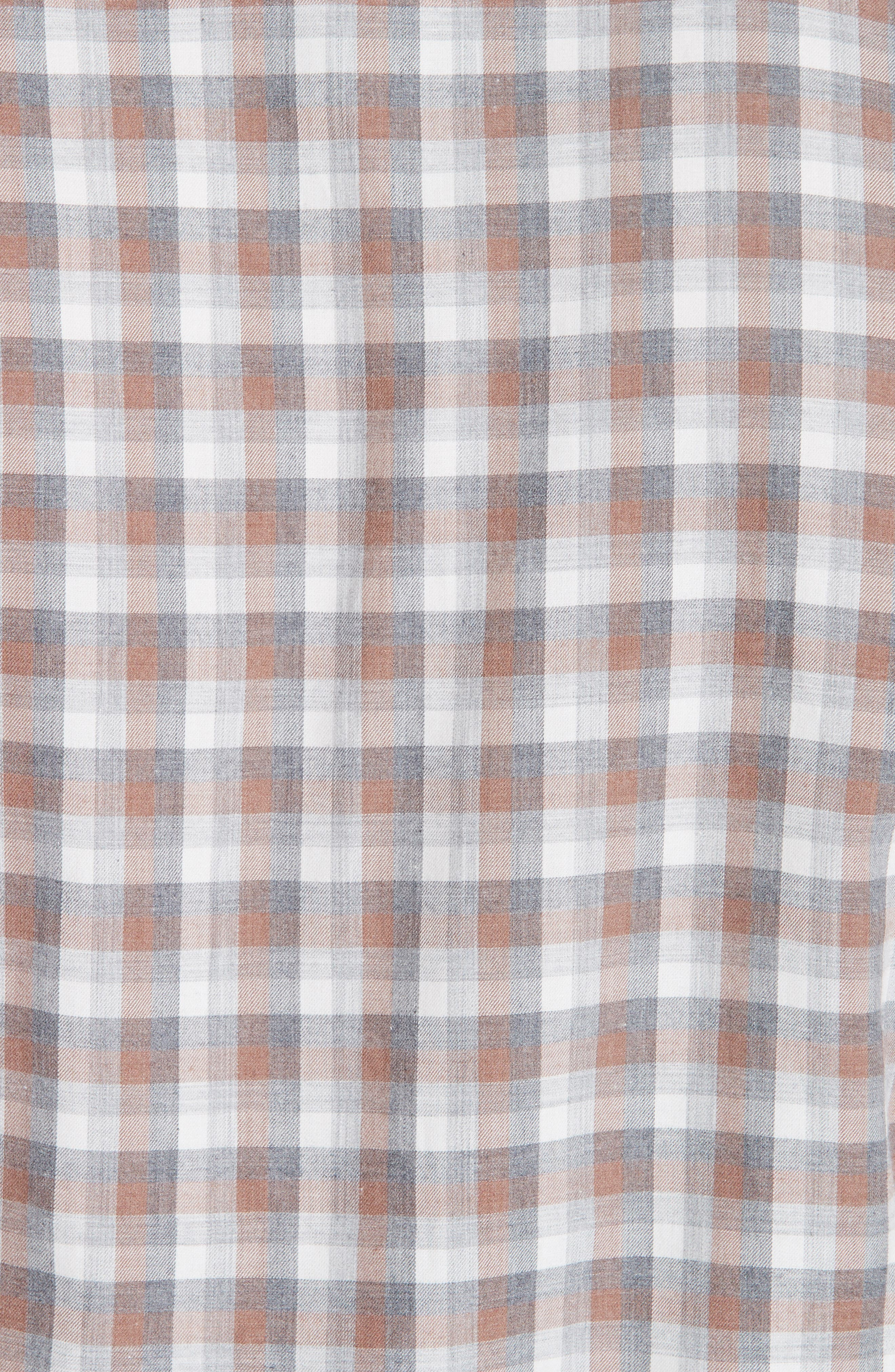Classic Fit Check Sport Shirt,                             Alternate thumbnail 5, color,                             BROWN