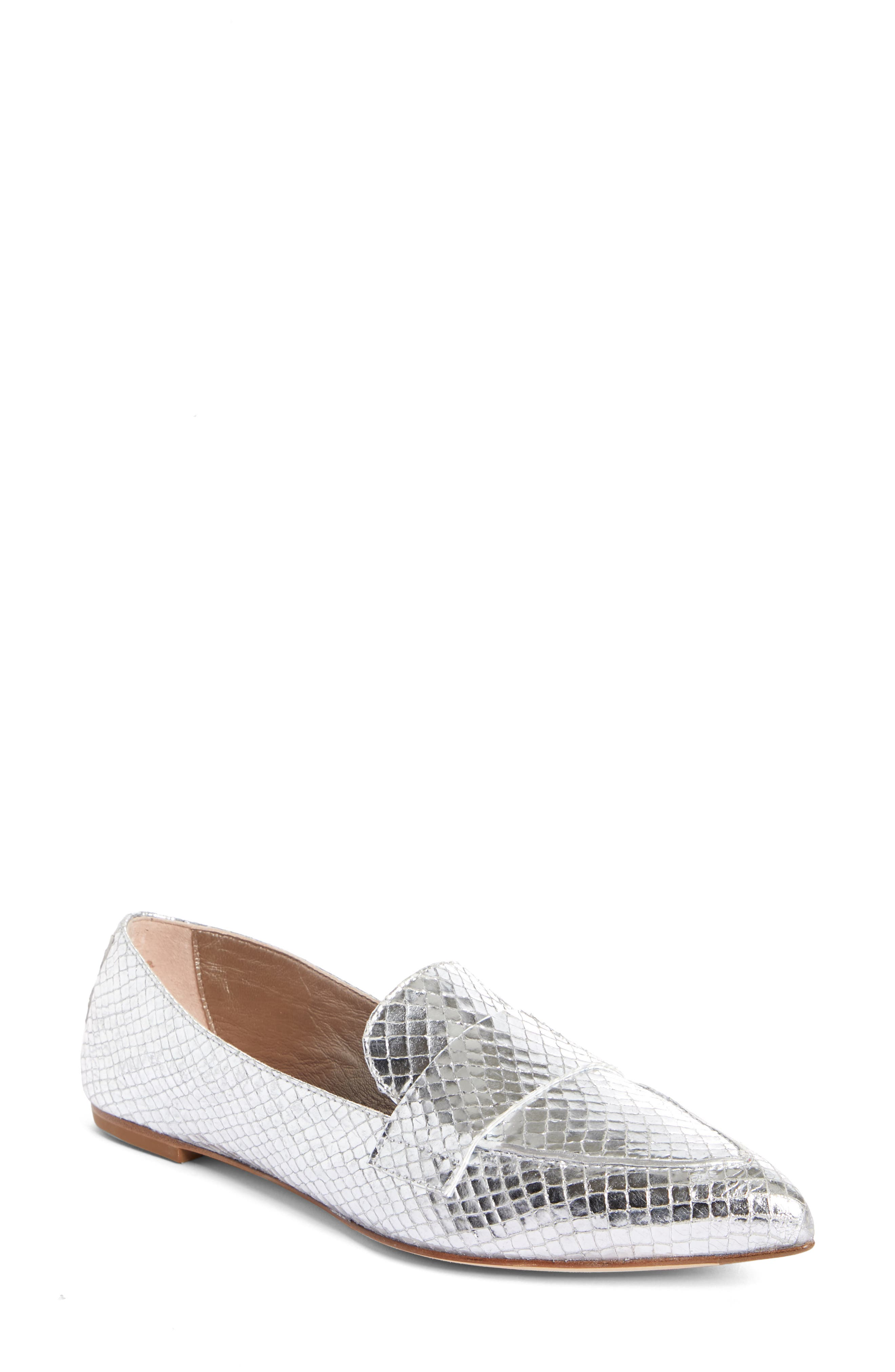 Agl Softy Pointy Toe Moccasin Loafer, Metallic