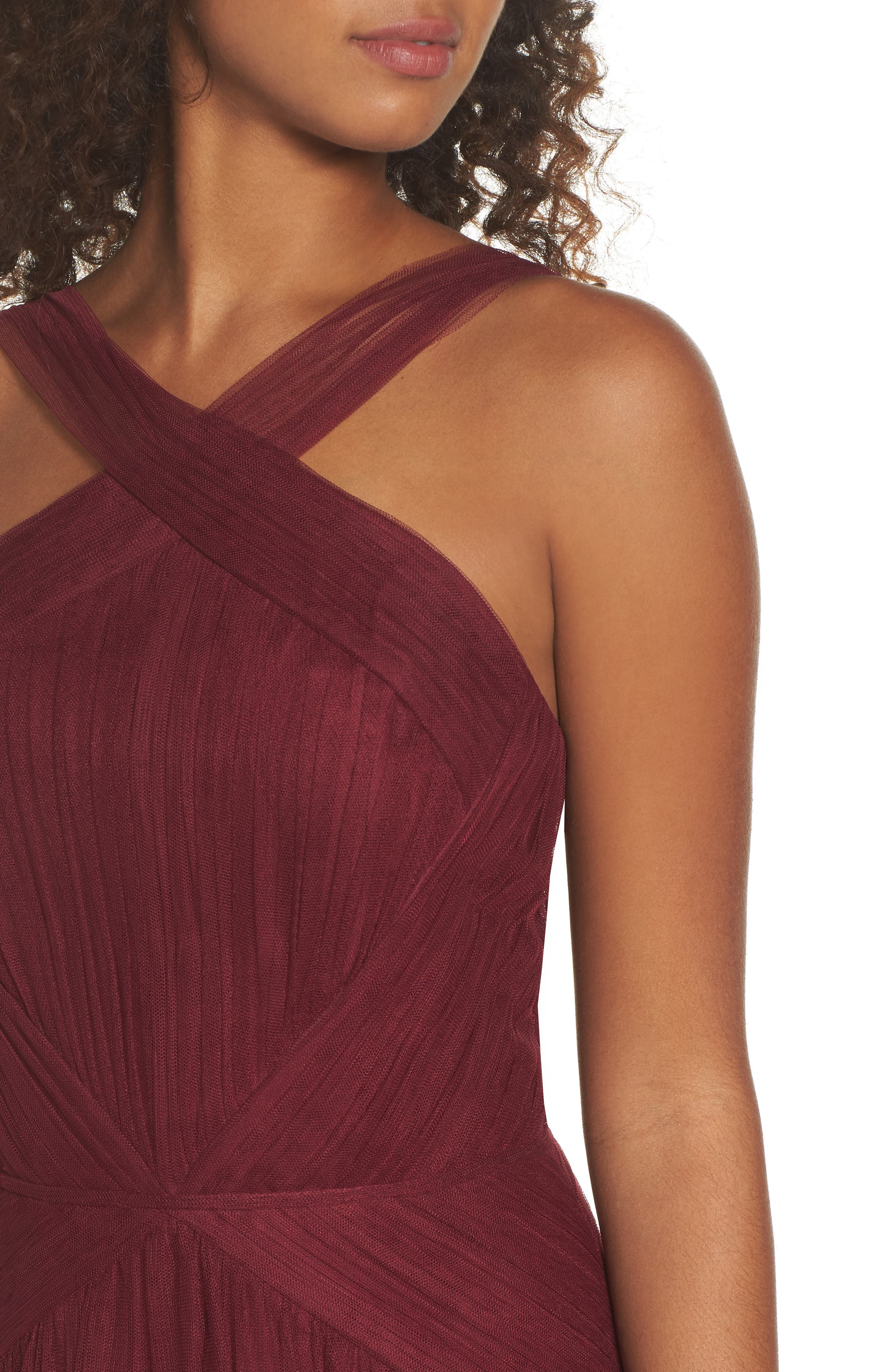 High Neck Pleated English Net Gown,                             Alternate thumbnail 4, color,                             930