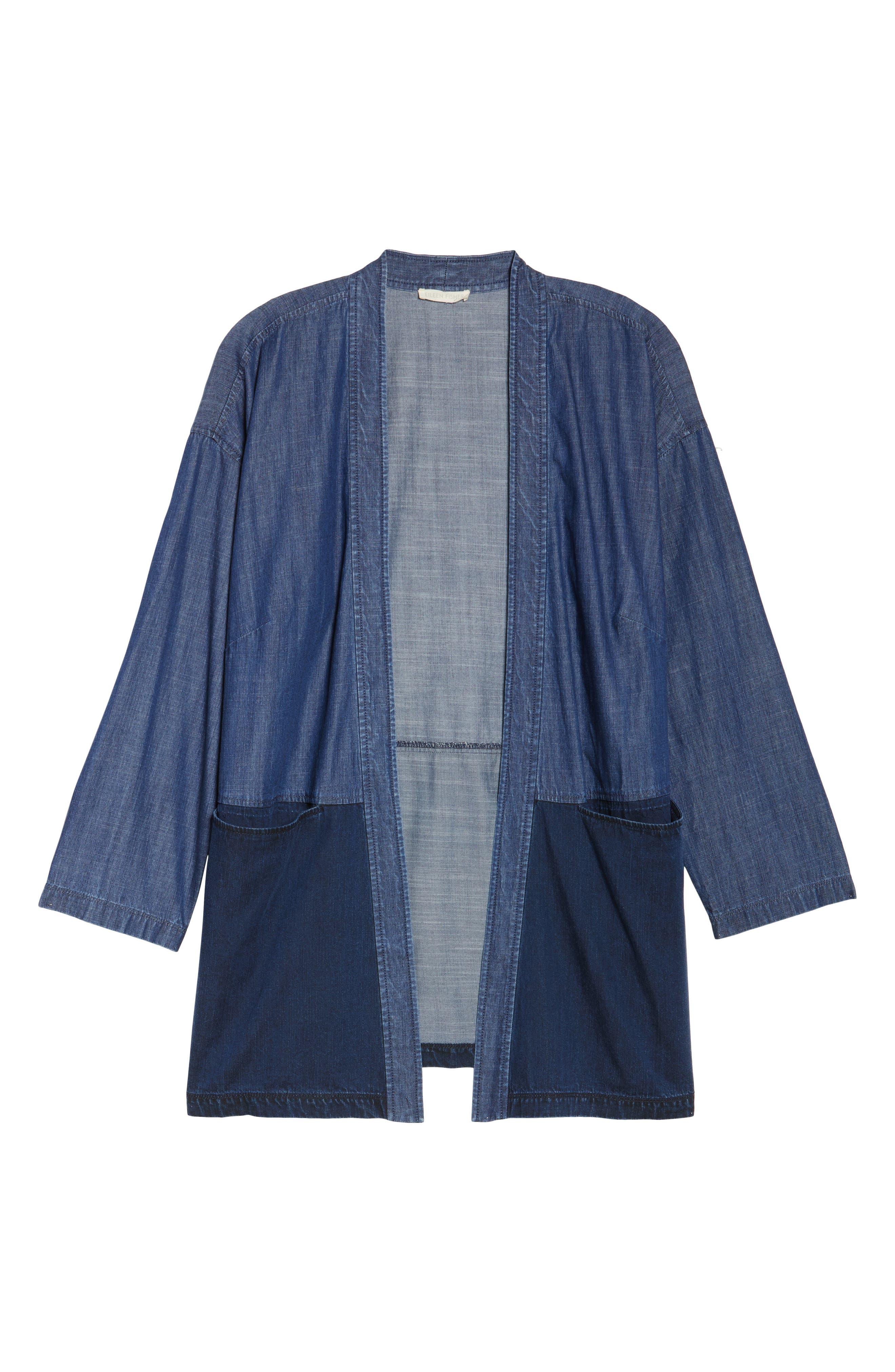 Denim Kimono Jacket,                             Alternate thumbnail 5, color,