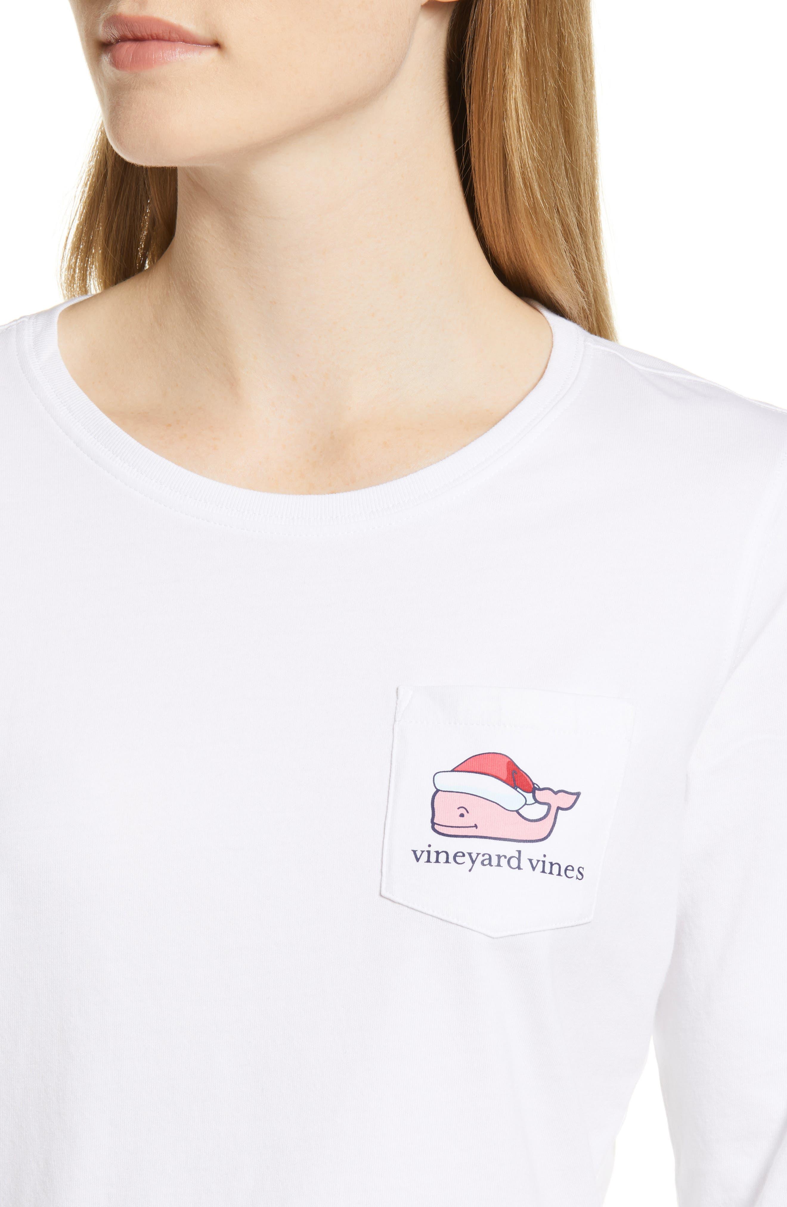 Santa Whale Pocket Tee,                             Alternate thumbnail 4, color,                             WHITE CAP