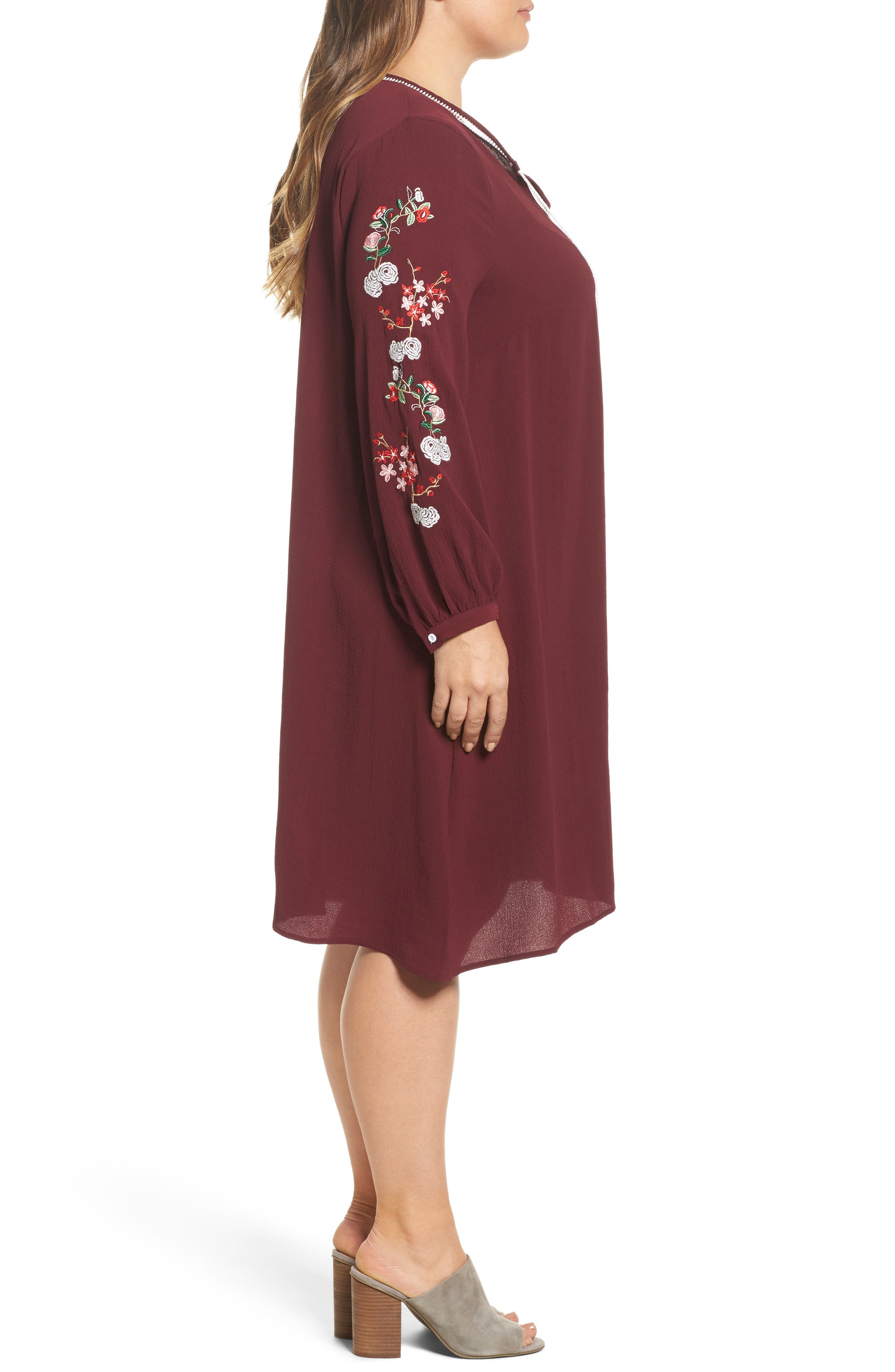 Floral Embroidered Shift Dress,                             Alternate thumbnail 6, color,