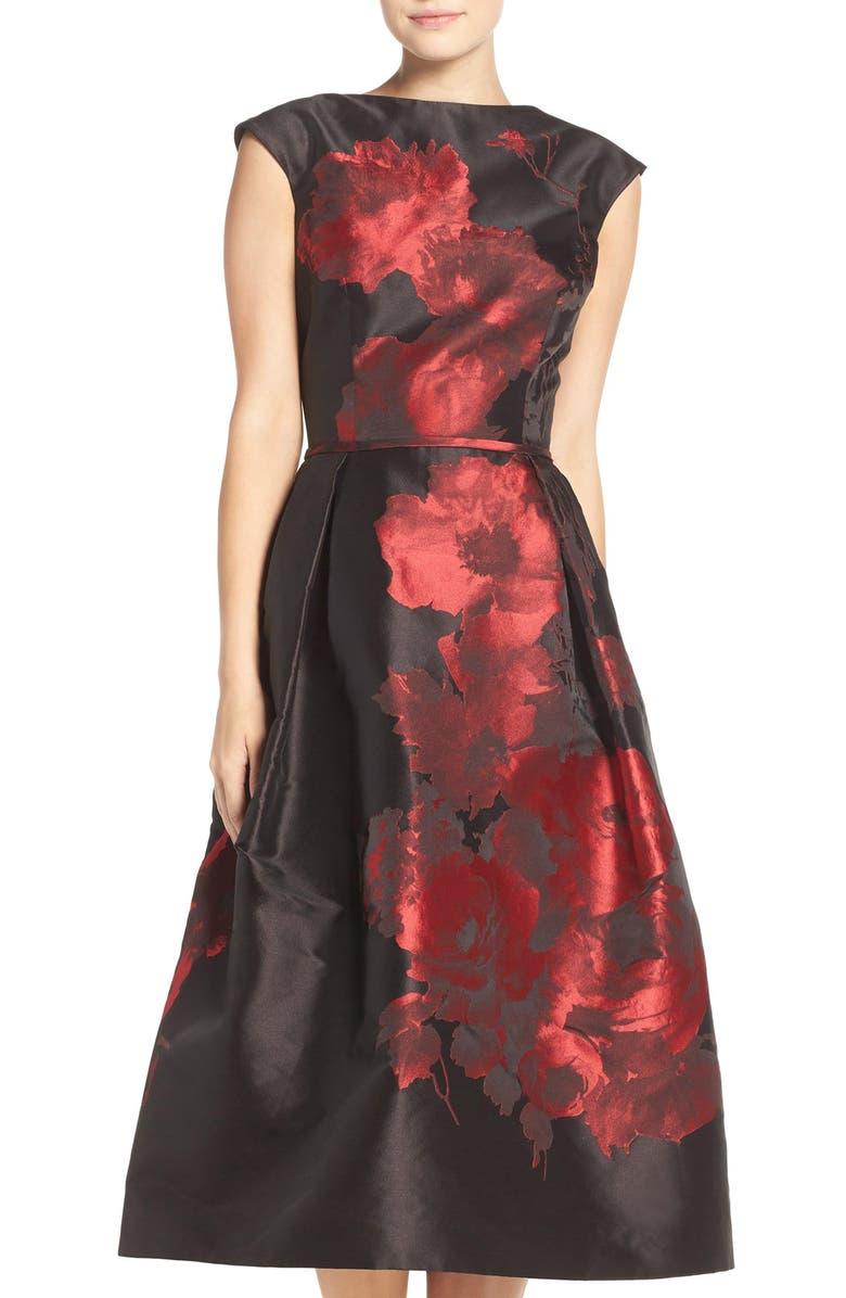 TERI JON Rickie Freeman for Teri Jon Floral Jacquard Midi Dress e974110d4