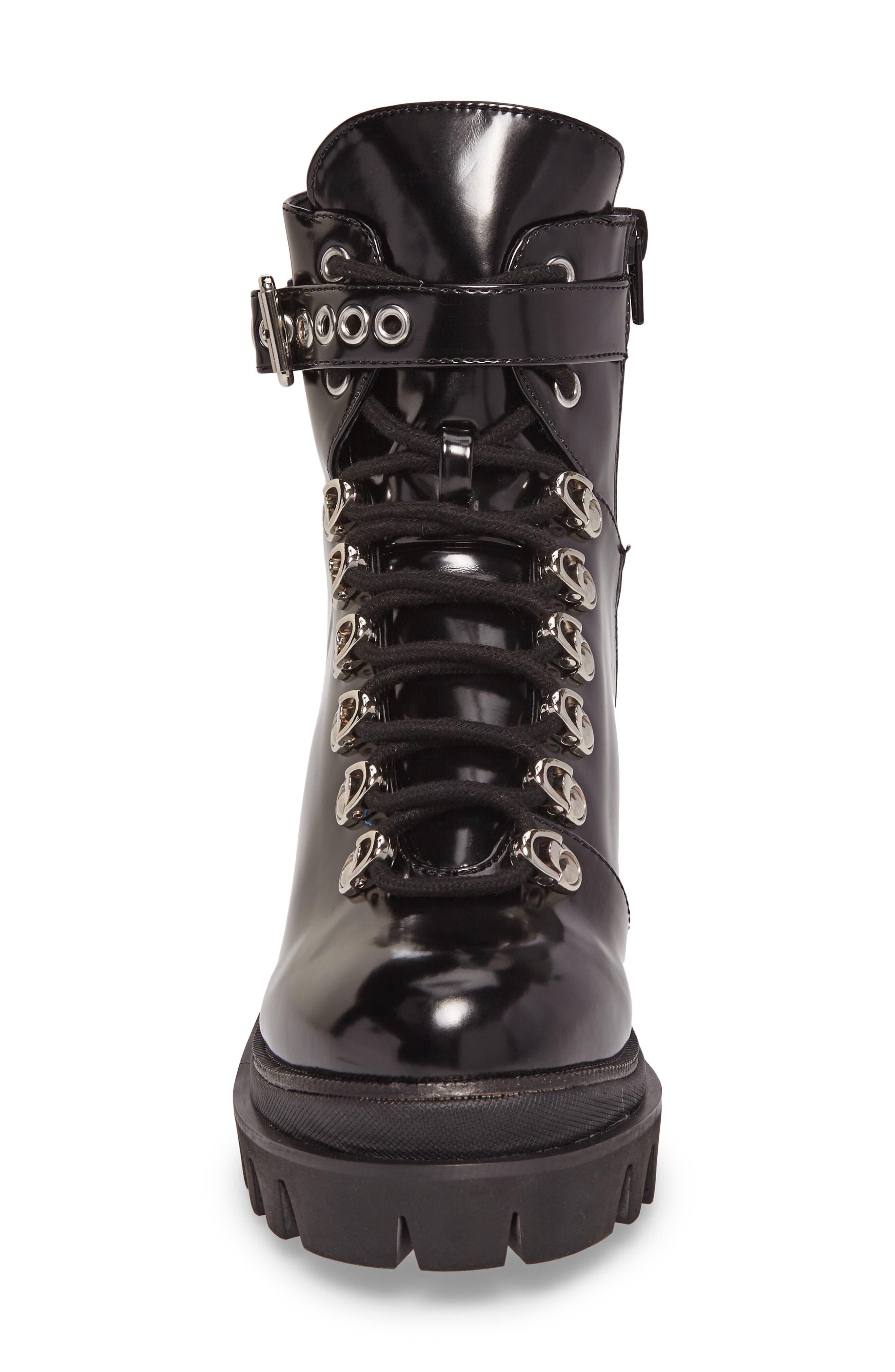 Czech Lace-Up Boot,                             Alternate thumbnail 4, color,                             BLACK PATENT LEATHER