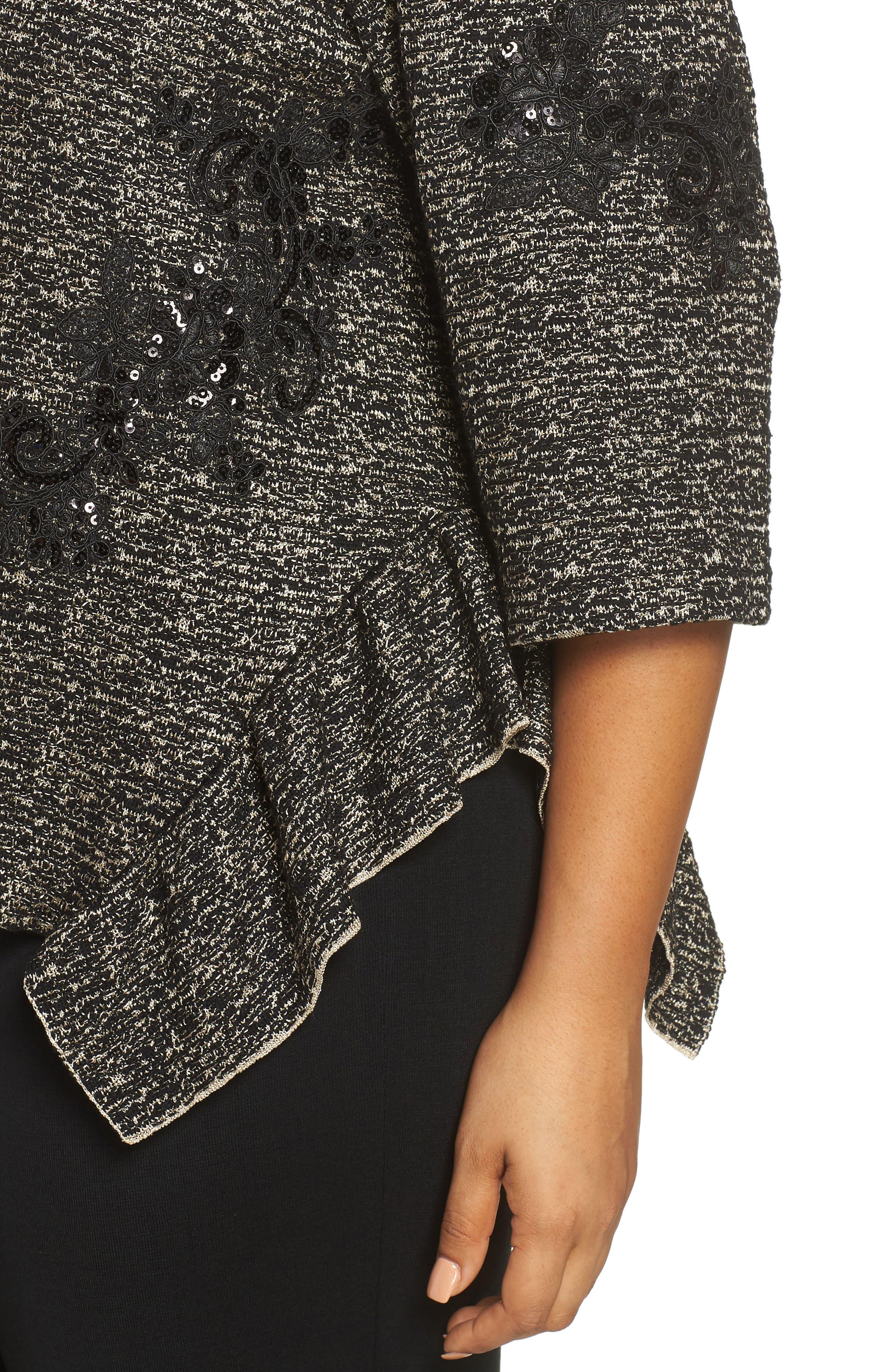 Sequin Asymmetrical Hem Top,                             Alternate thumbnail 4, color,                             CEDAR/ BLACK