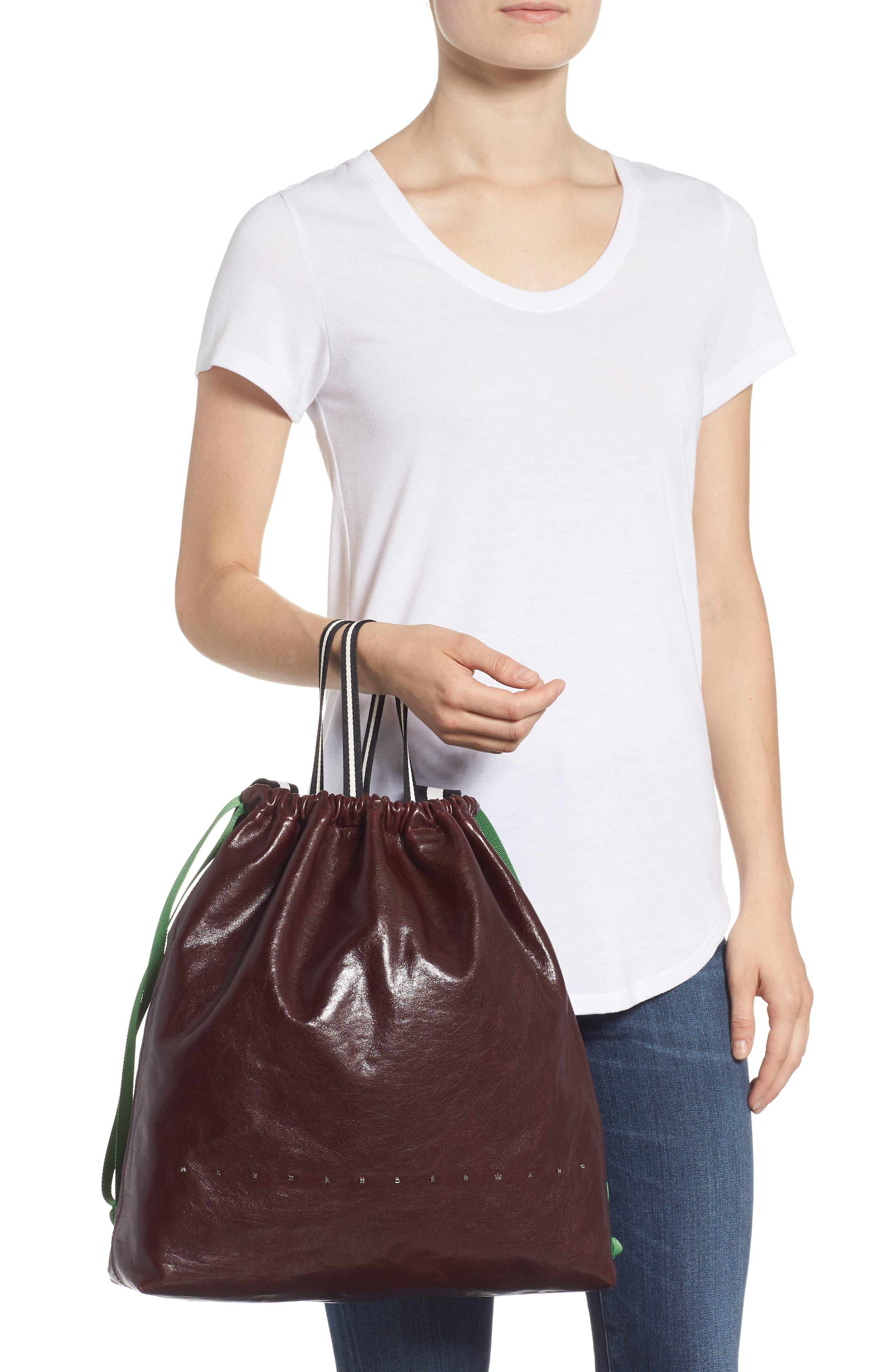 Wefty Drawstring Bucket Bag,                             Alternate thumbnail 2, color,                             OXBLOOD