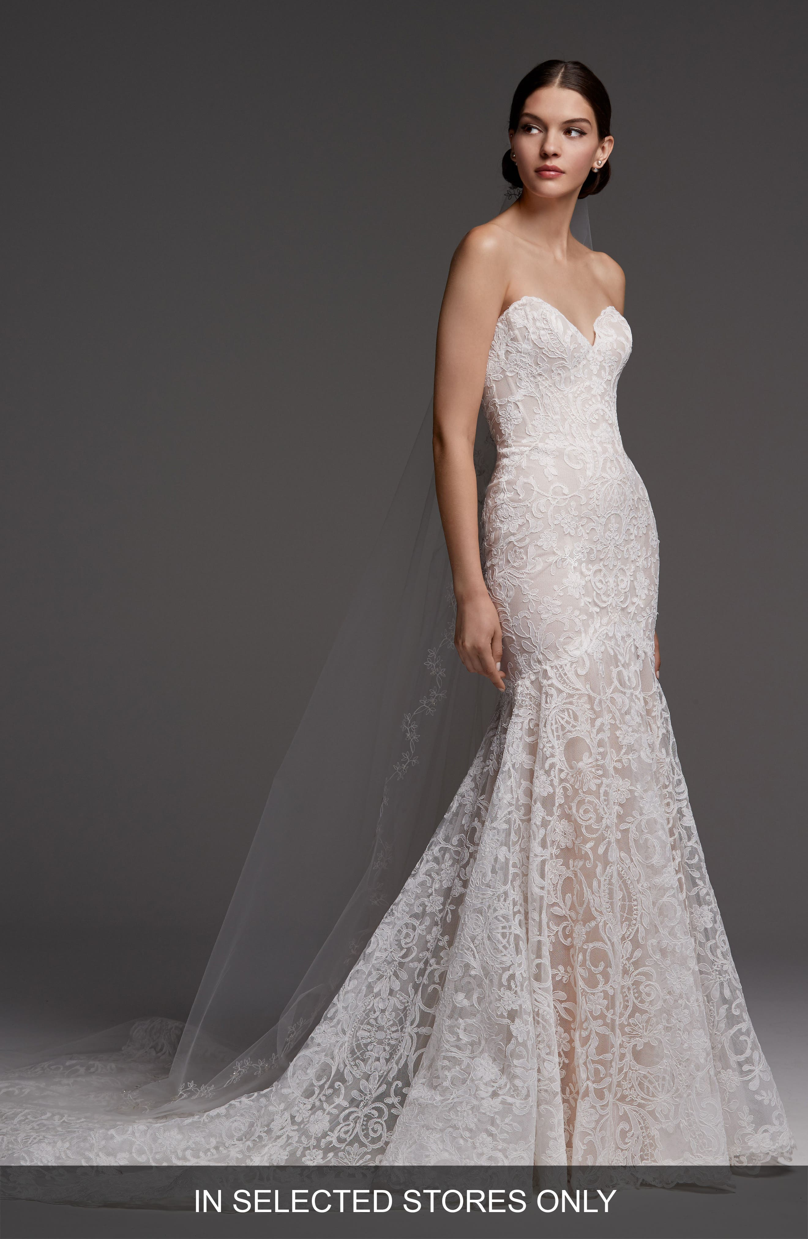 Medici Strapless Lace Mermaid Gown,                         Main,                         color, MACCHIATO