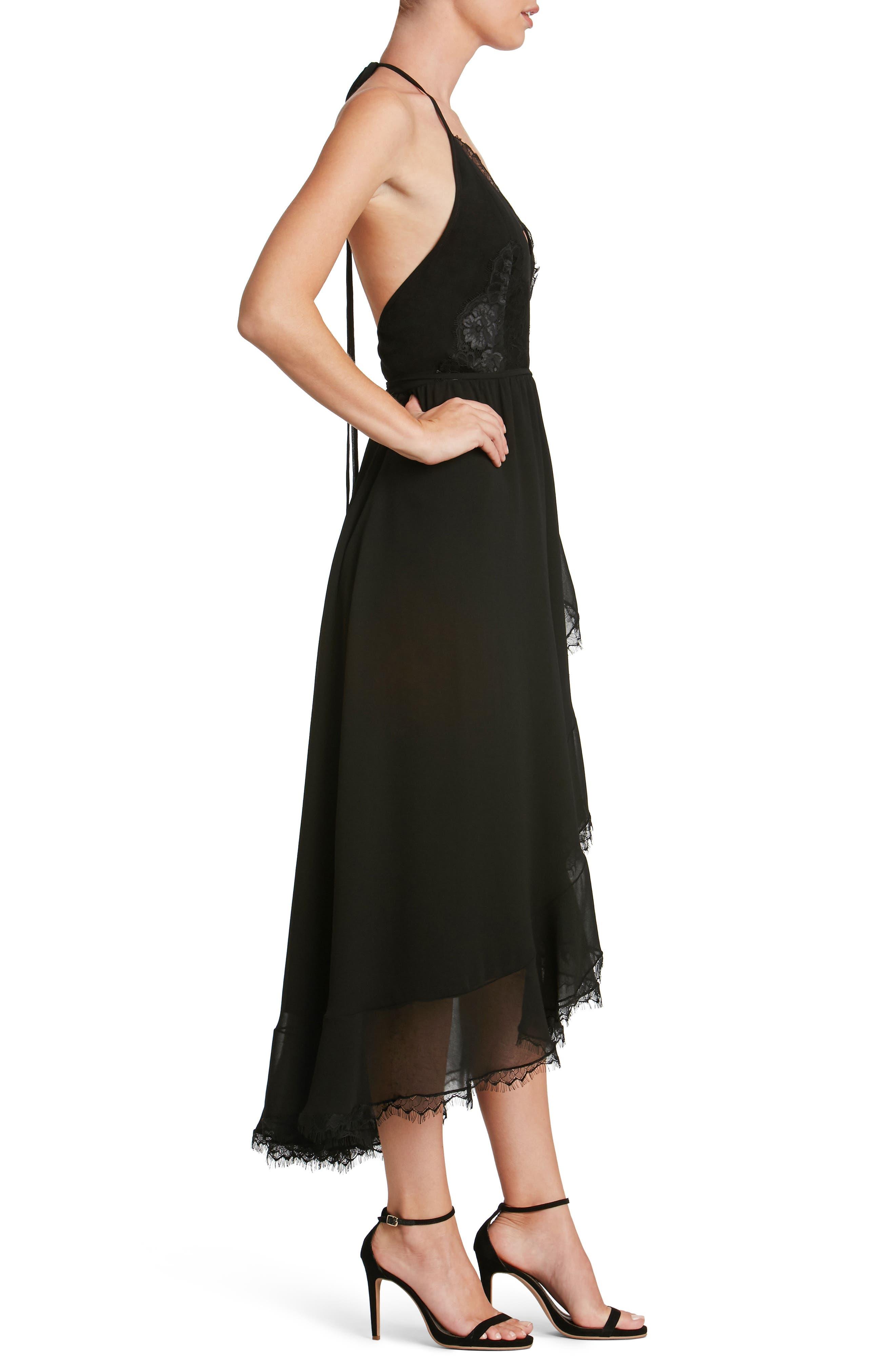 DRESS THE POPULATION,                             Gia Backless Chiffon Wrap Dress,                             Alternate thumbnail 3, color,                             001