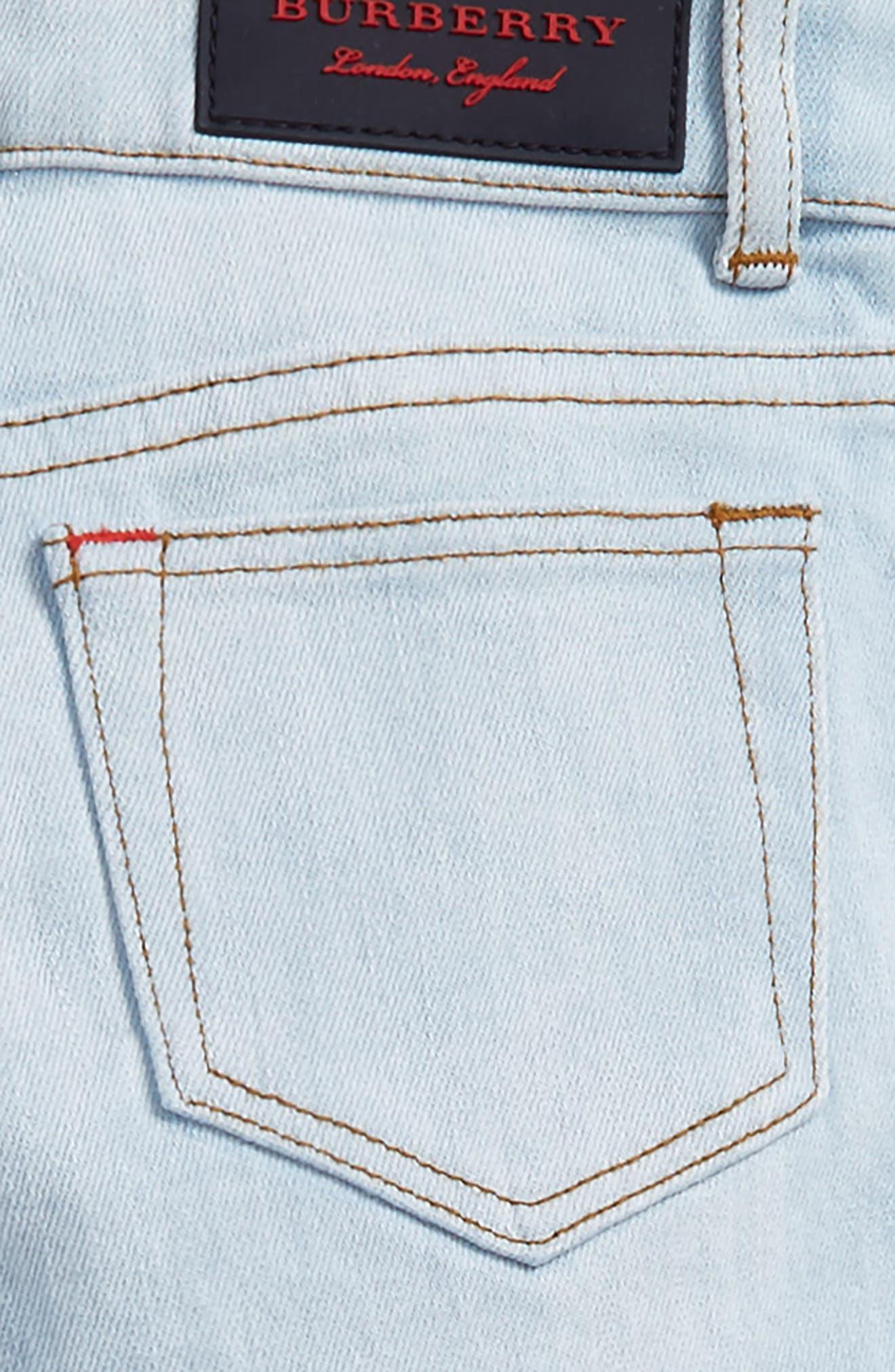 Check Cuff Straight Leg Jeans,                             Alternate thumbnail 6, color,
