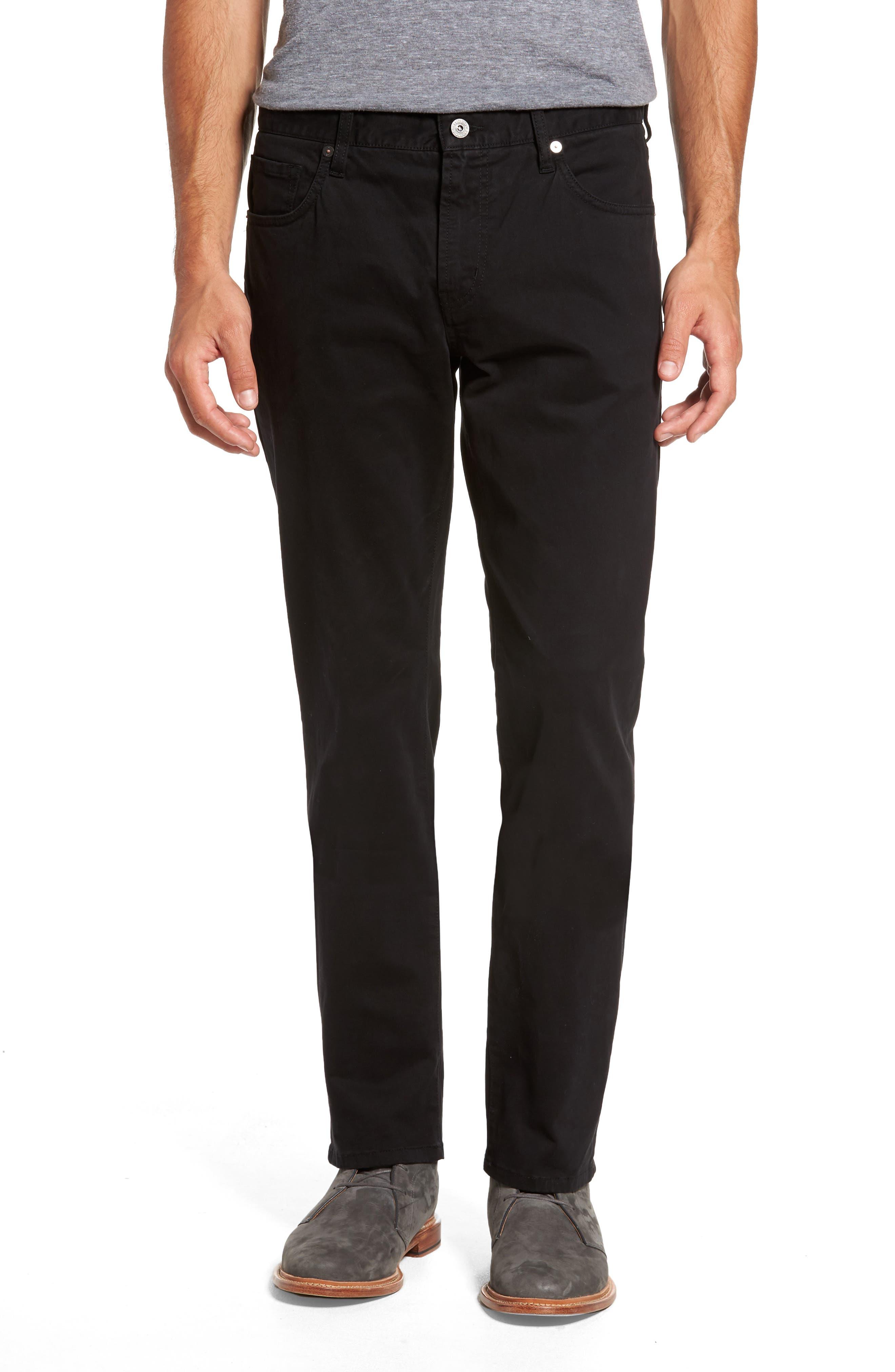 Brushed Twill Five-Pocket Pants,                         Main,                         color, BLACK