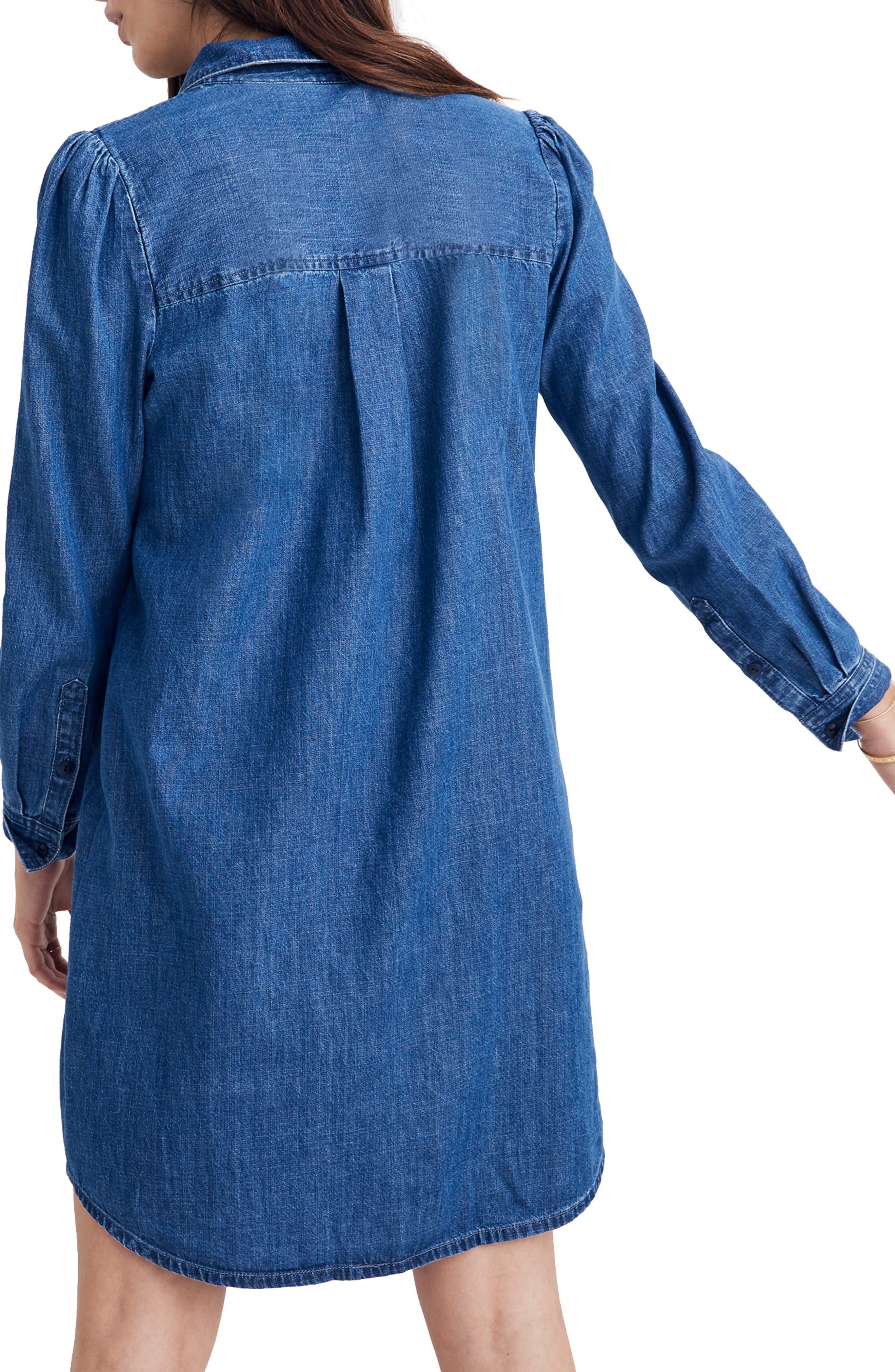 Puff Sleeve Denim Shirtdress,                             Alternate thumbnail 2, color,                             HARRIS WASH