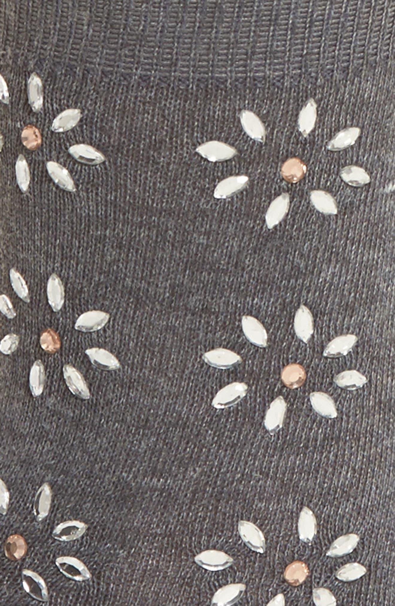 Crystal Flower Crew Socks,                             Alternate thumbnail 2, color,                             020
