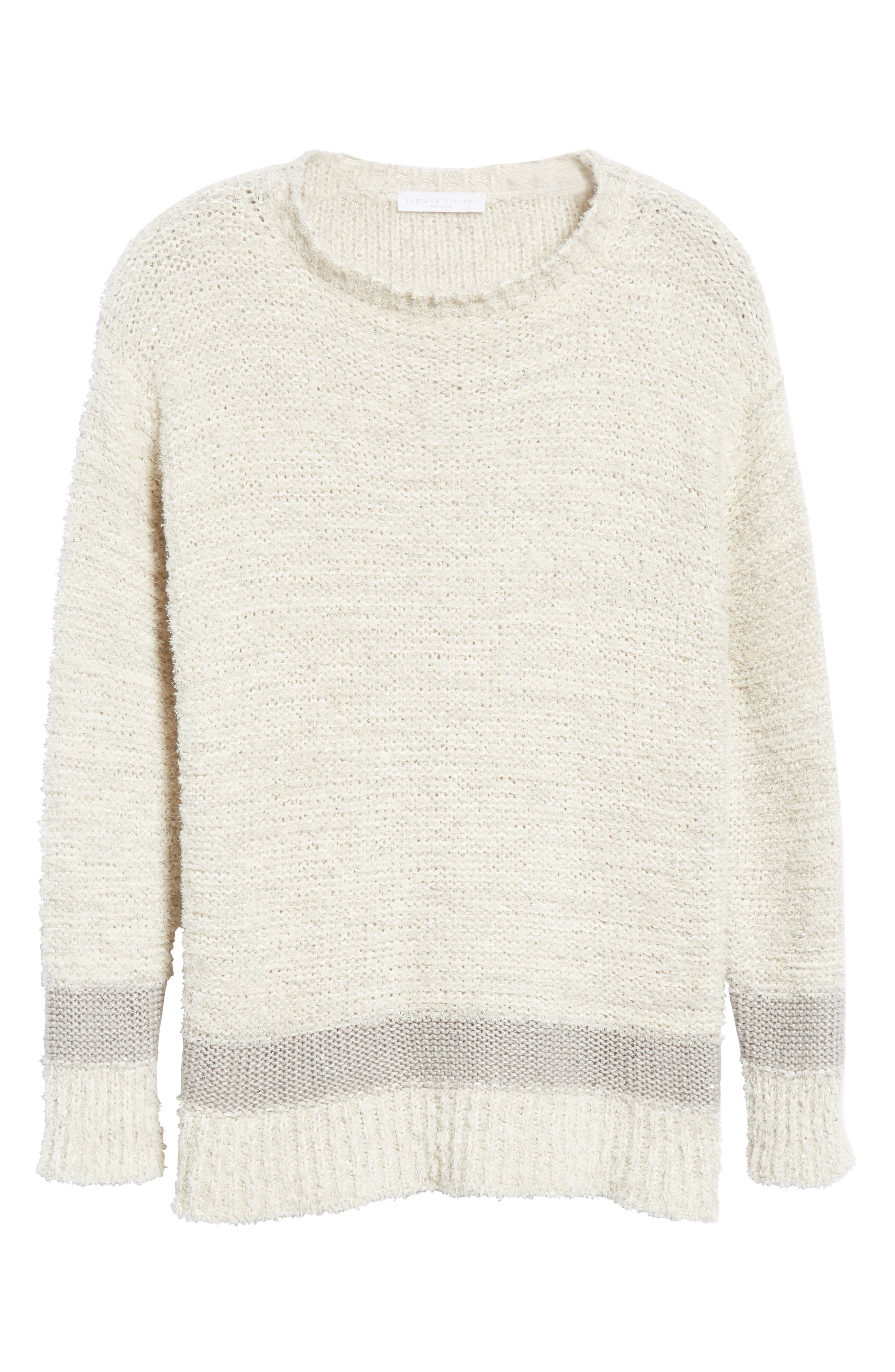 Sequin Knit Sweater,                             Alternate thumbnail 6, color,                             BEIGE