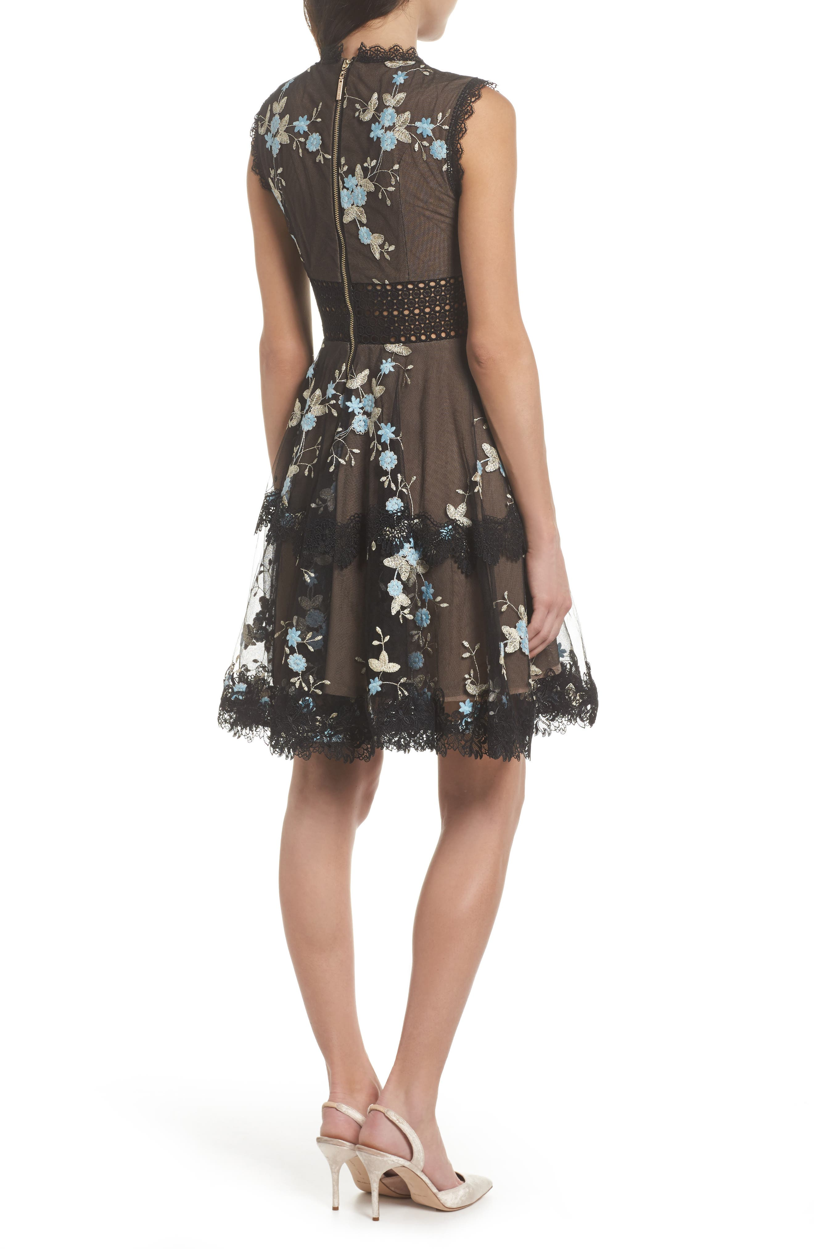 Marietta Embroidered Fit & Flare Dress,                             Alternate thumbnail 2, color,                             001