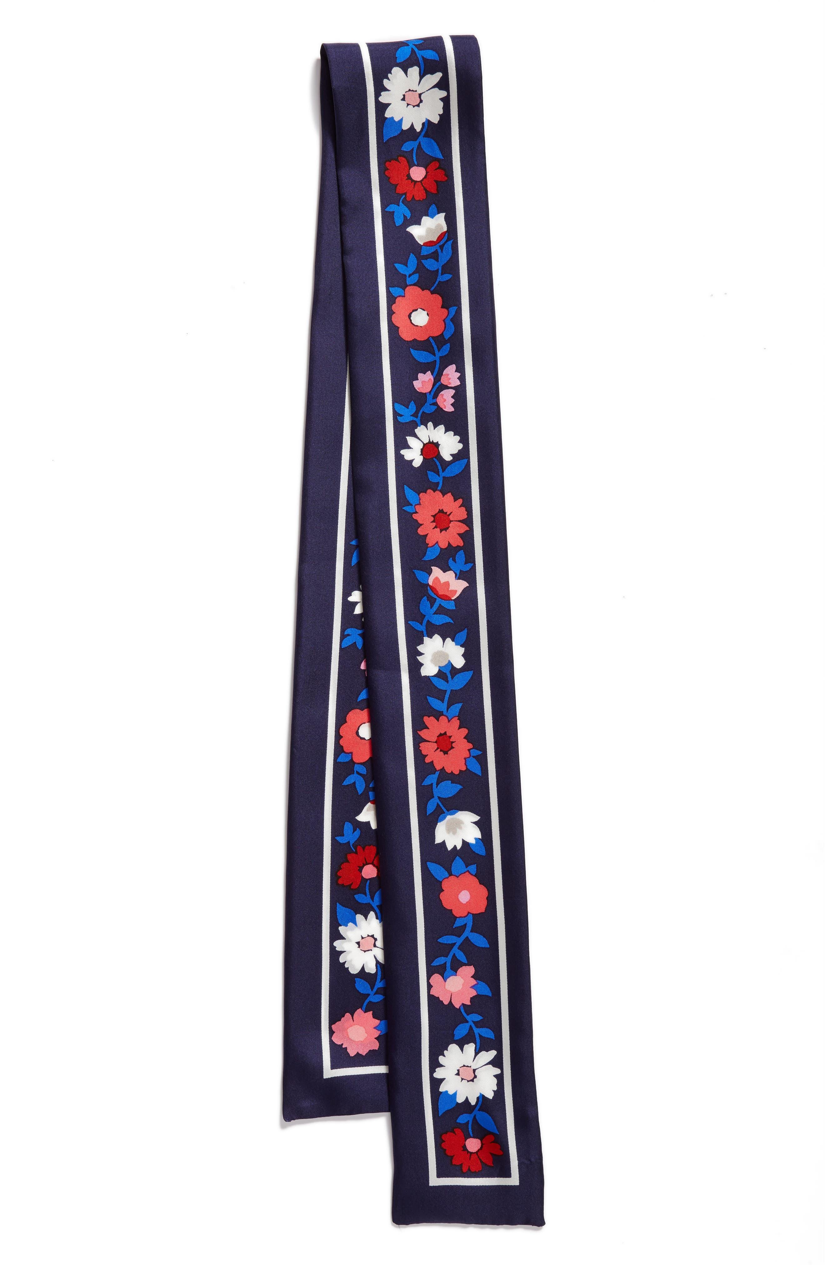 KATE SPADE NEW YORK,                             daisy skinny silk scarf,                             Alternate thumbnail 3, color,                             415
