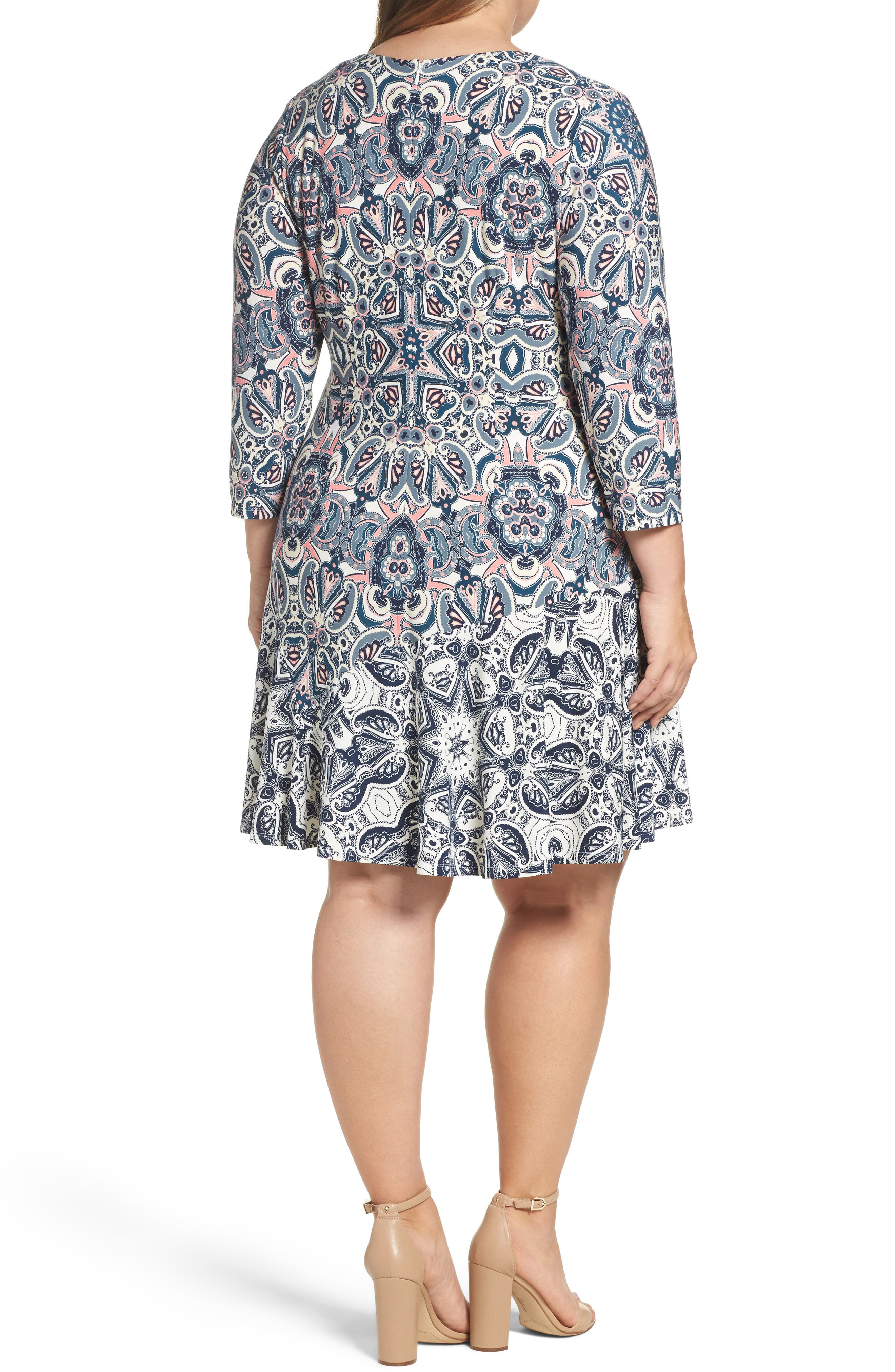 Mixed Paisley A-Line Dress,                             Alternate thumbnail 2, color,                             404