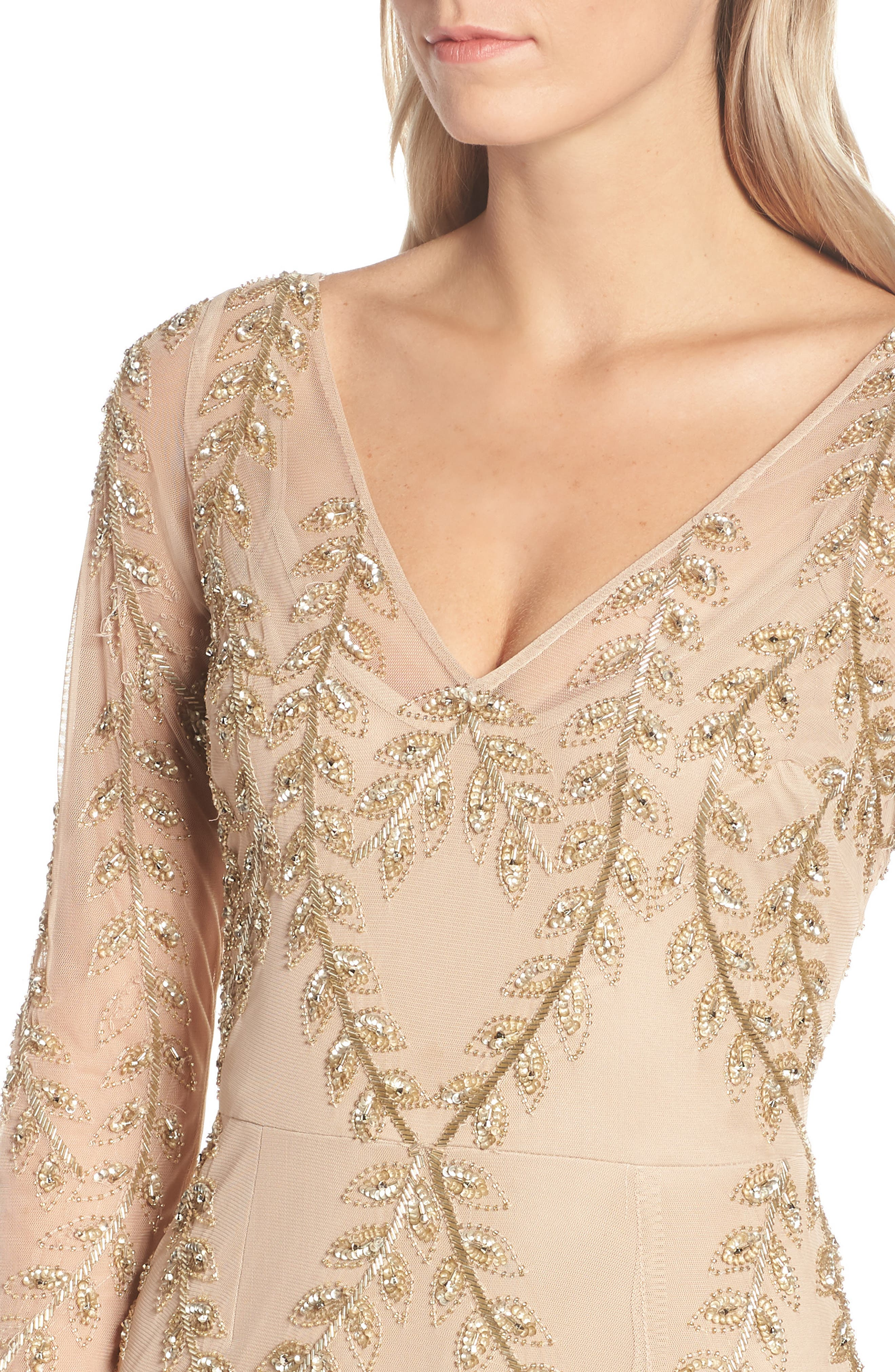 ADRIANNA PAPELL,                             Fern Beaded Gown,                             Alternate thumbnail 5, color,                             CHAMPAGNE/ GOLD