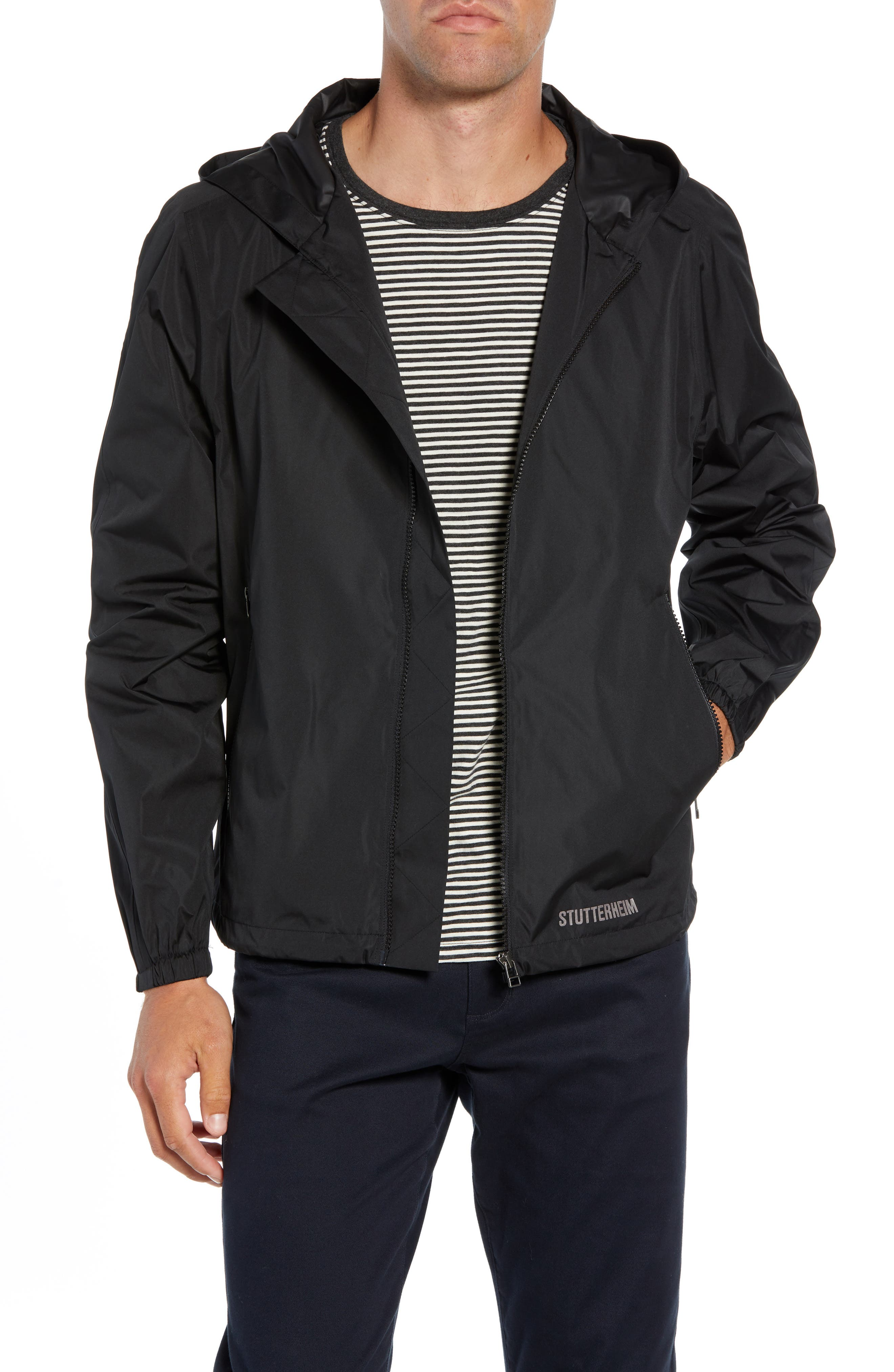 Starby Rain Jacket,                         Main,                         color, BLACK