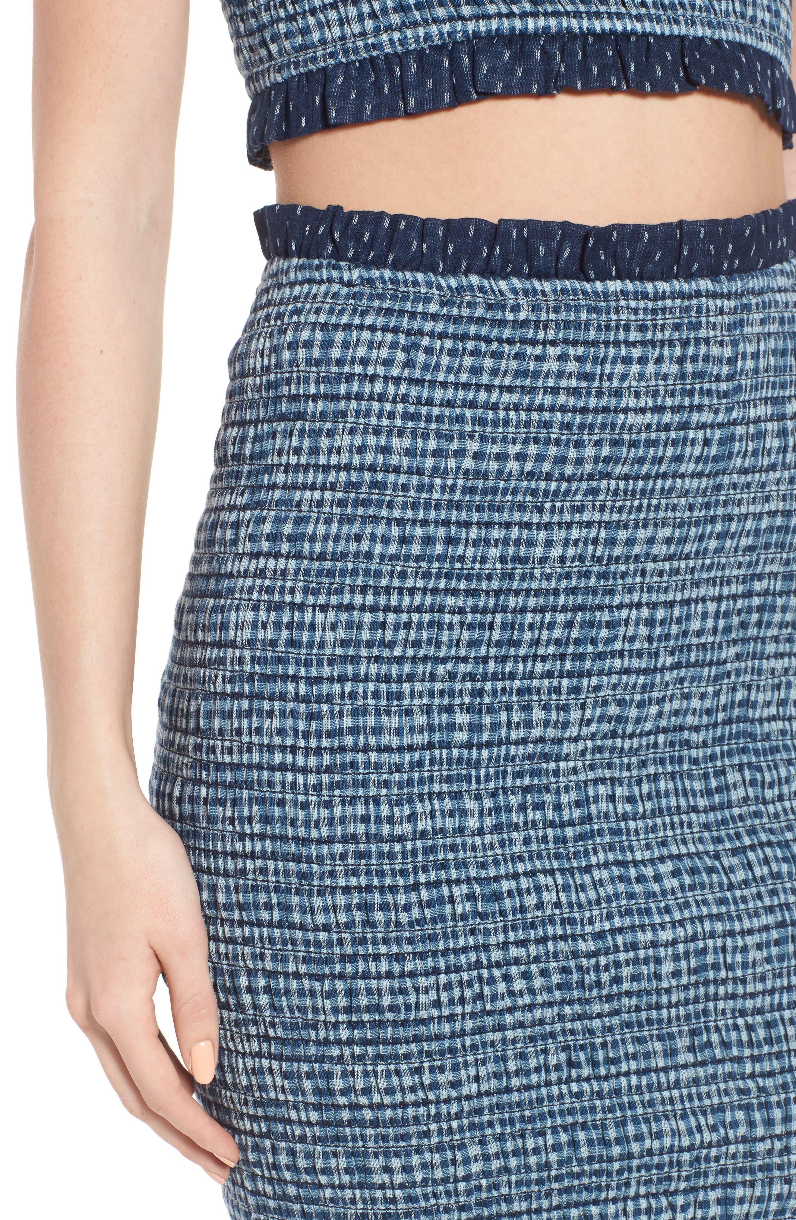 Kylie Smocked Skirt,                             Alternate thumbnail 4, color,                             001